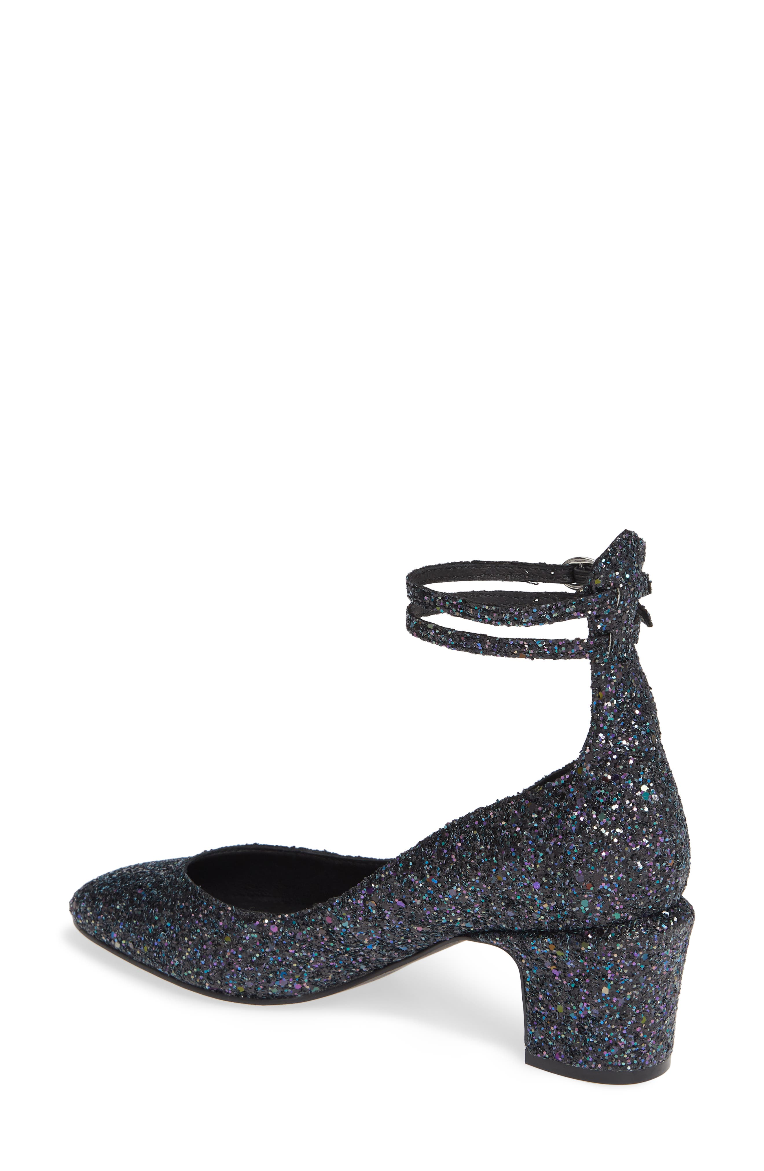 Lana Ankle Strap Pump,                             Alternate thumbnail 2, color,                             NAVY GLITTER PATENT LEATHER