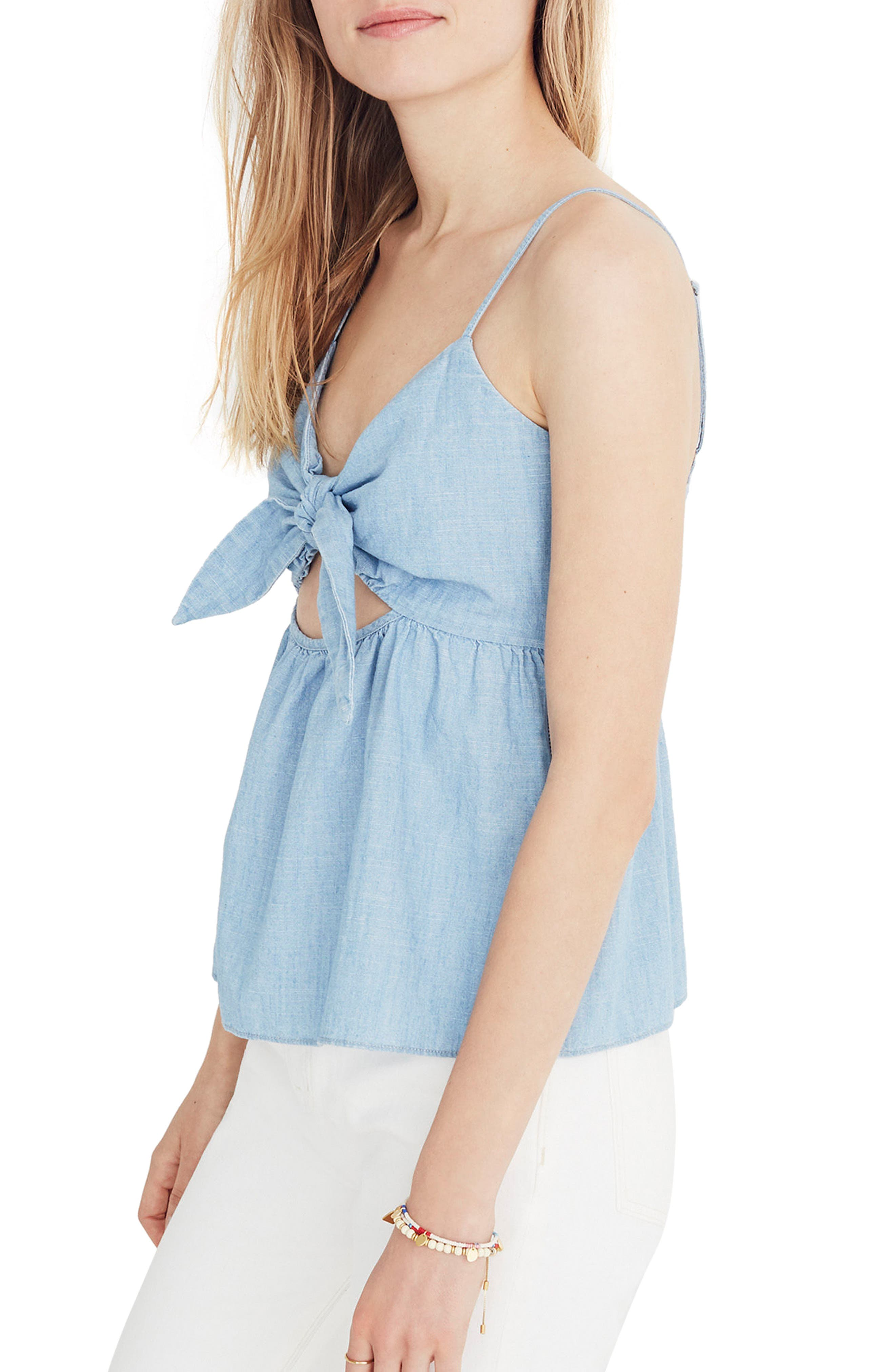 Tie Front Keyhole Chambray Camisole,                             Alternate thumbnail 2, color,                             CORINNA WASH