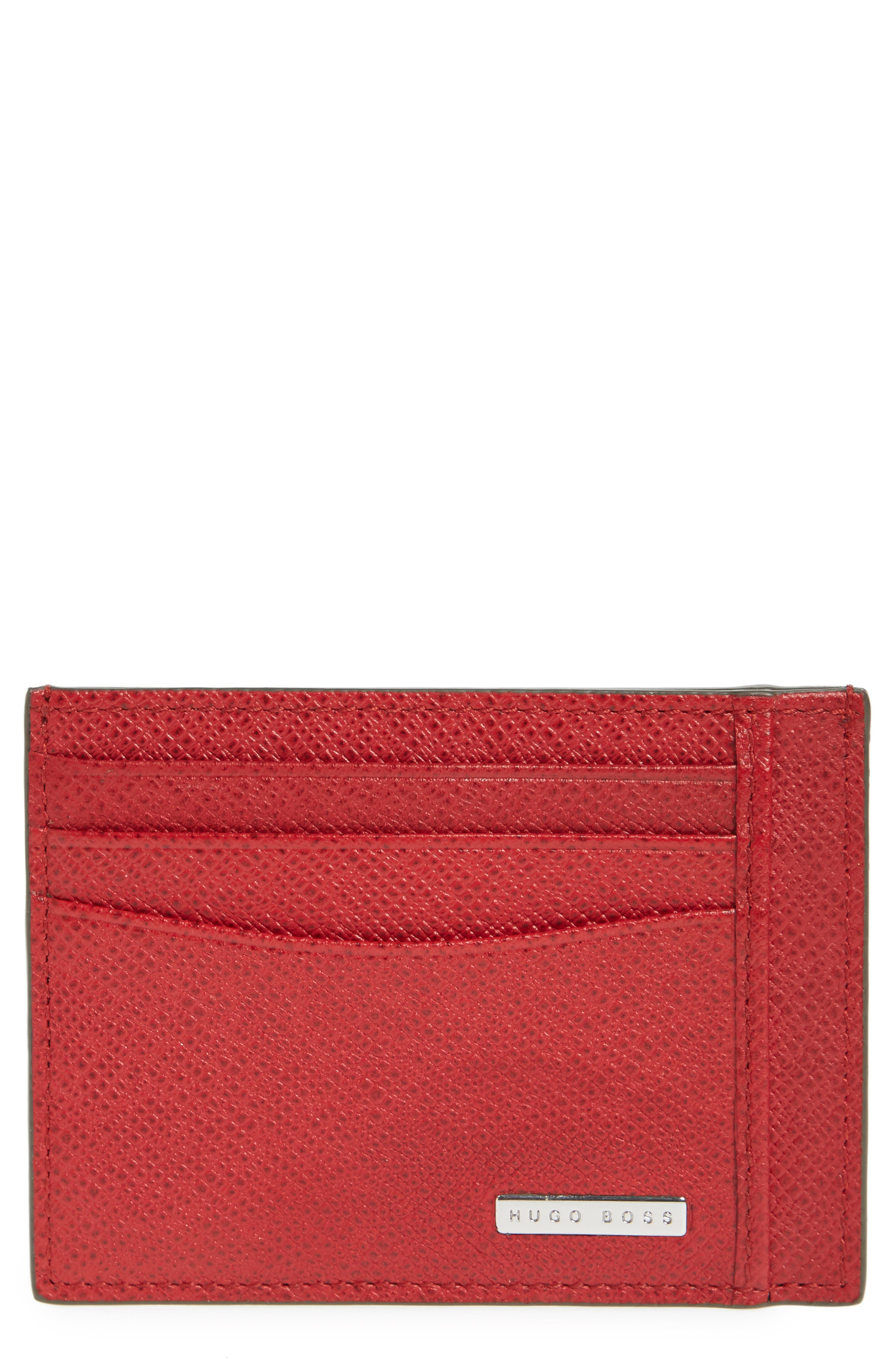 Signature Leather Card Case,                             Main thumbnail 1, color,                             MEDIUM RED