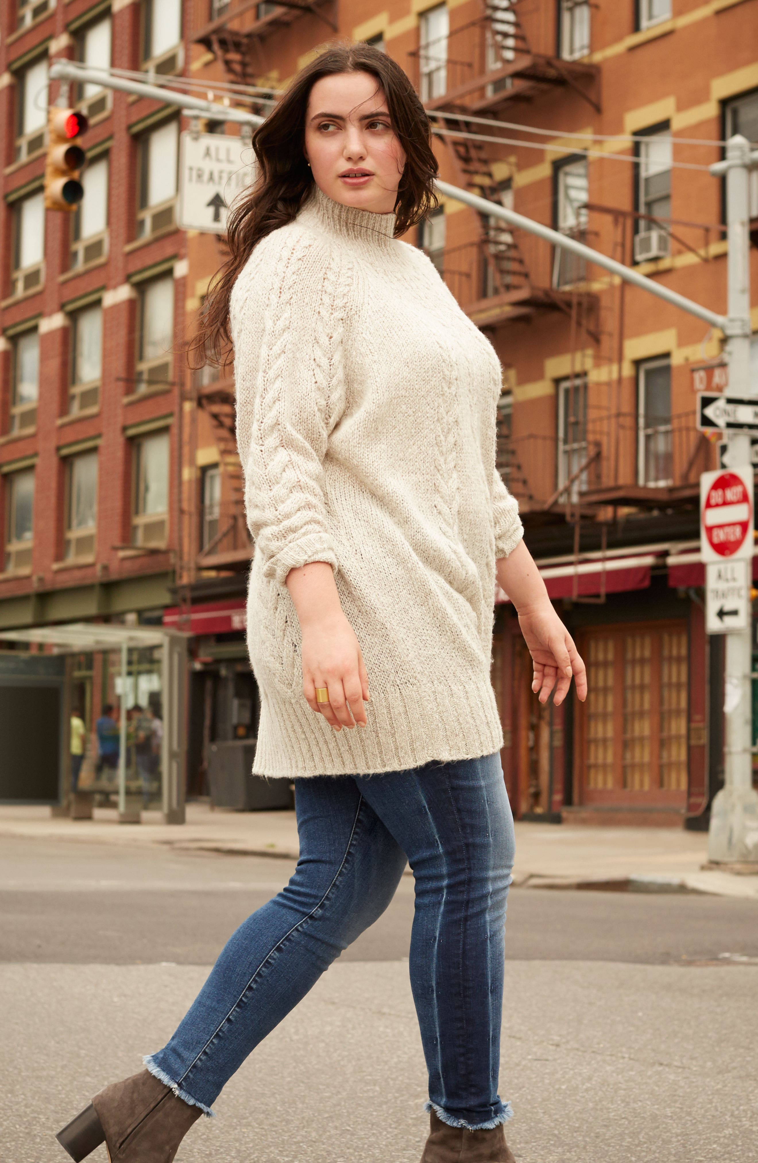 Cable Knit Tunic Sweater,                             Alternate thumbnail 7, color,                             BEIGE OATMEAL LIGHT HEATHER