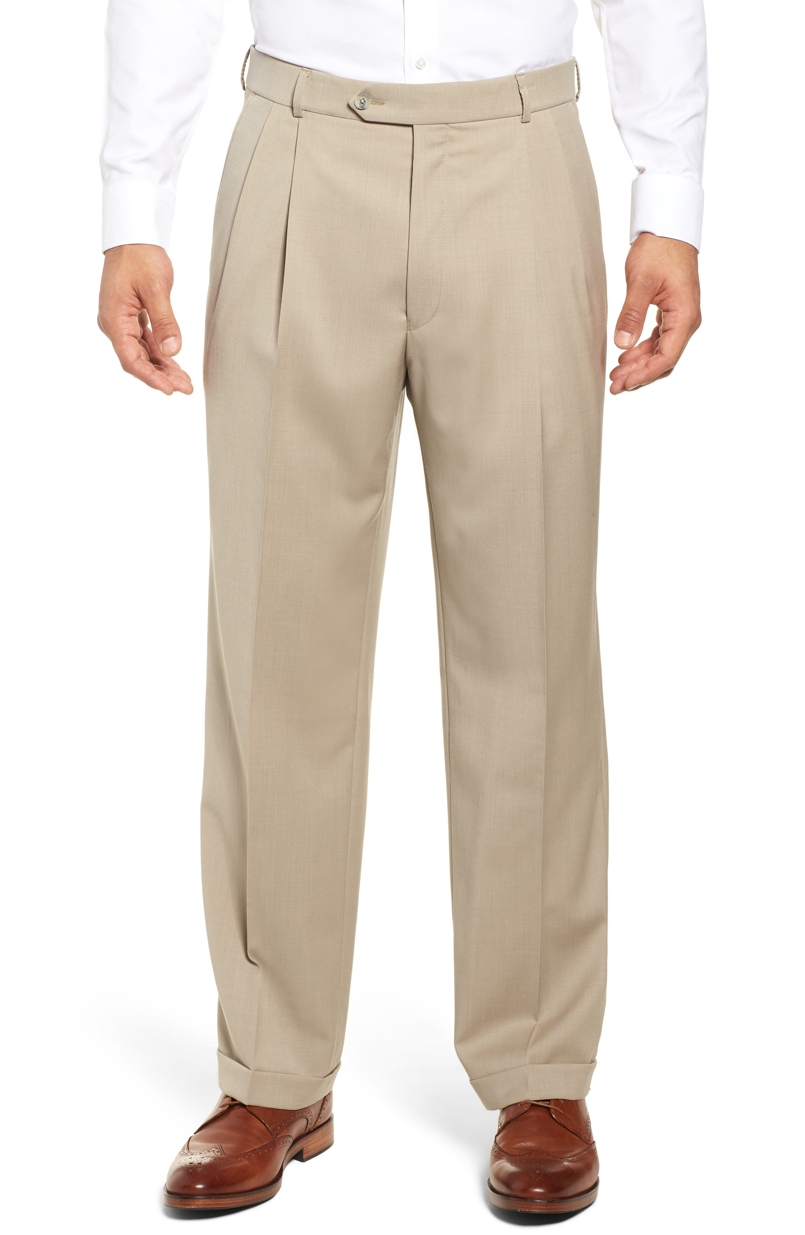 Pleated Solid Wool Trousers,                         Main,                         color, OATMEAL