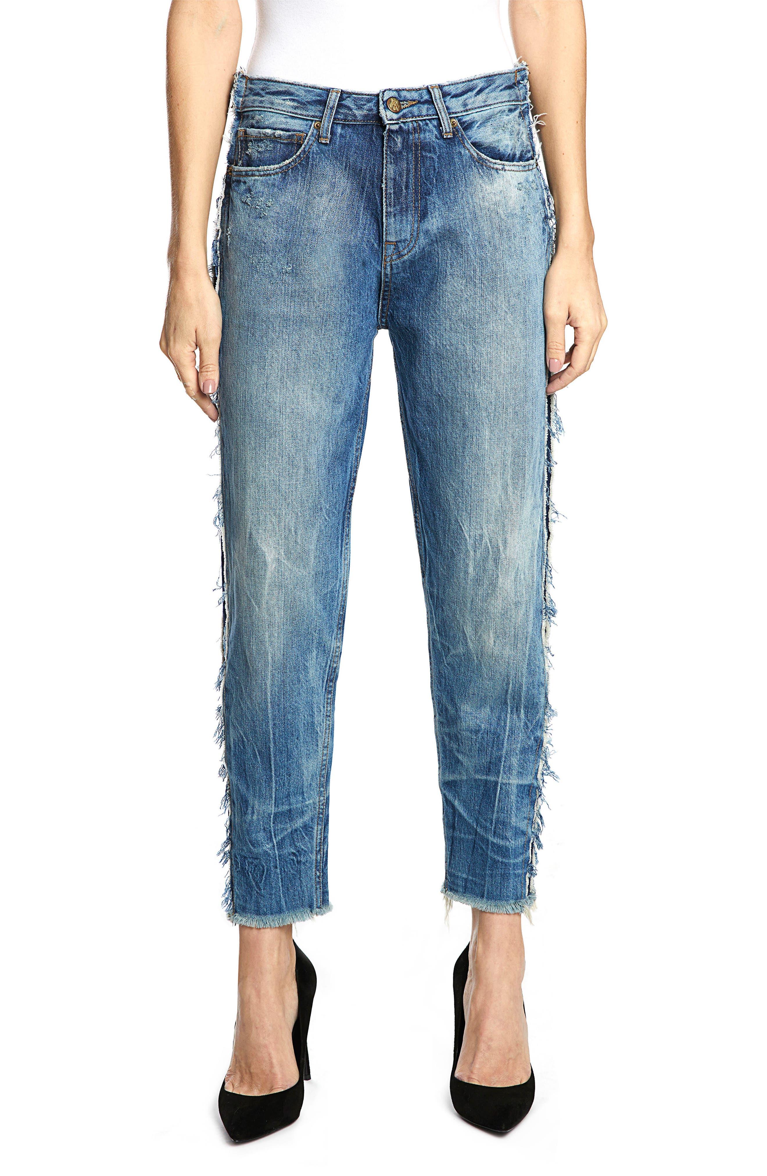 Bel Air High Waist Contrast Seam Boyfriend Jeans,                             Main thumbnail 1, color,                             490