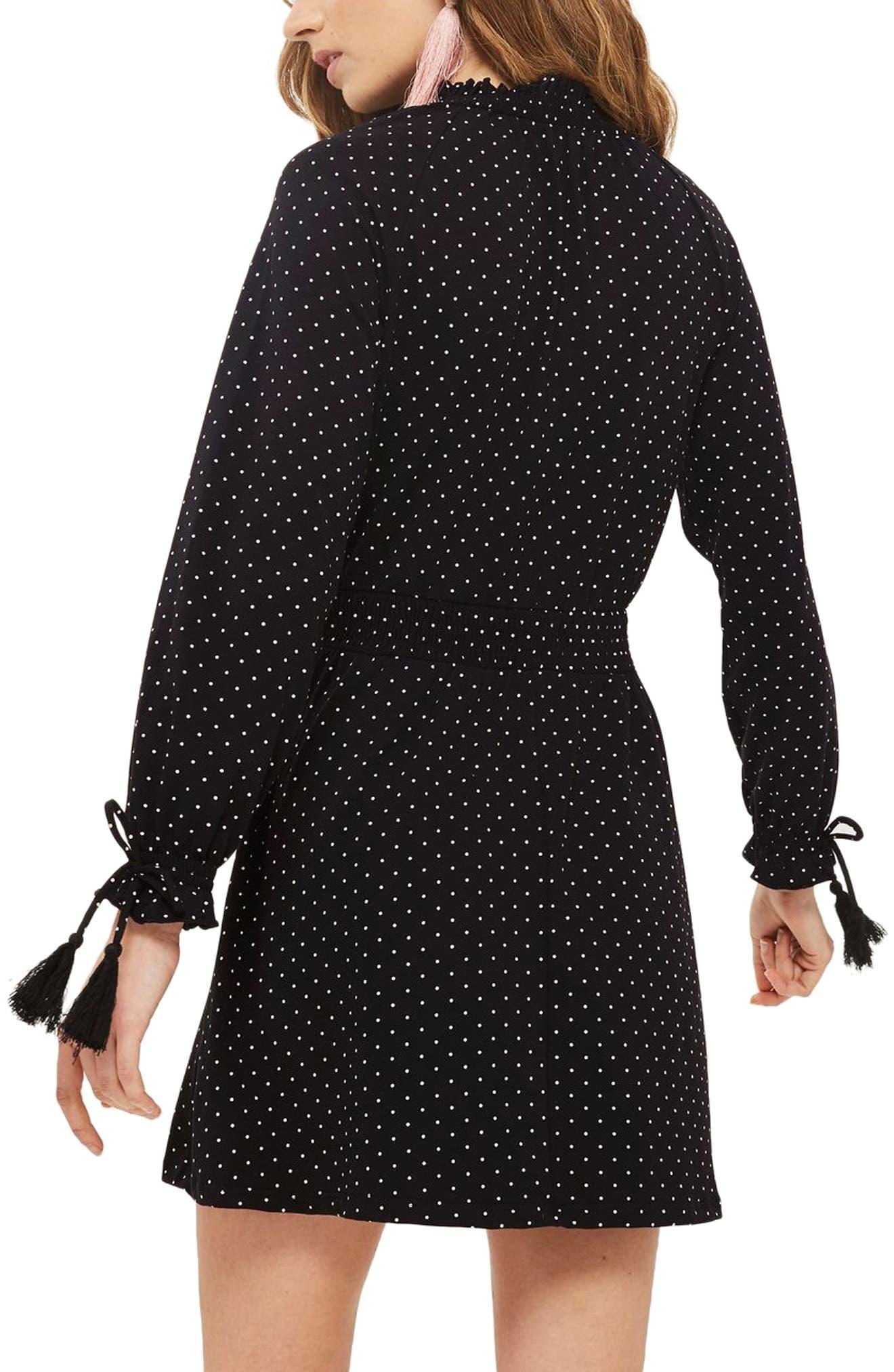 Polka Dot Shirred Waist Dress,                             Alternate thumbnail 2, color,                             001