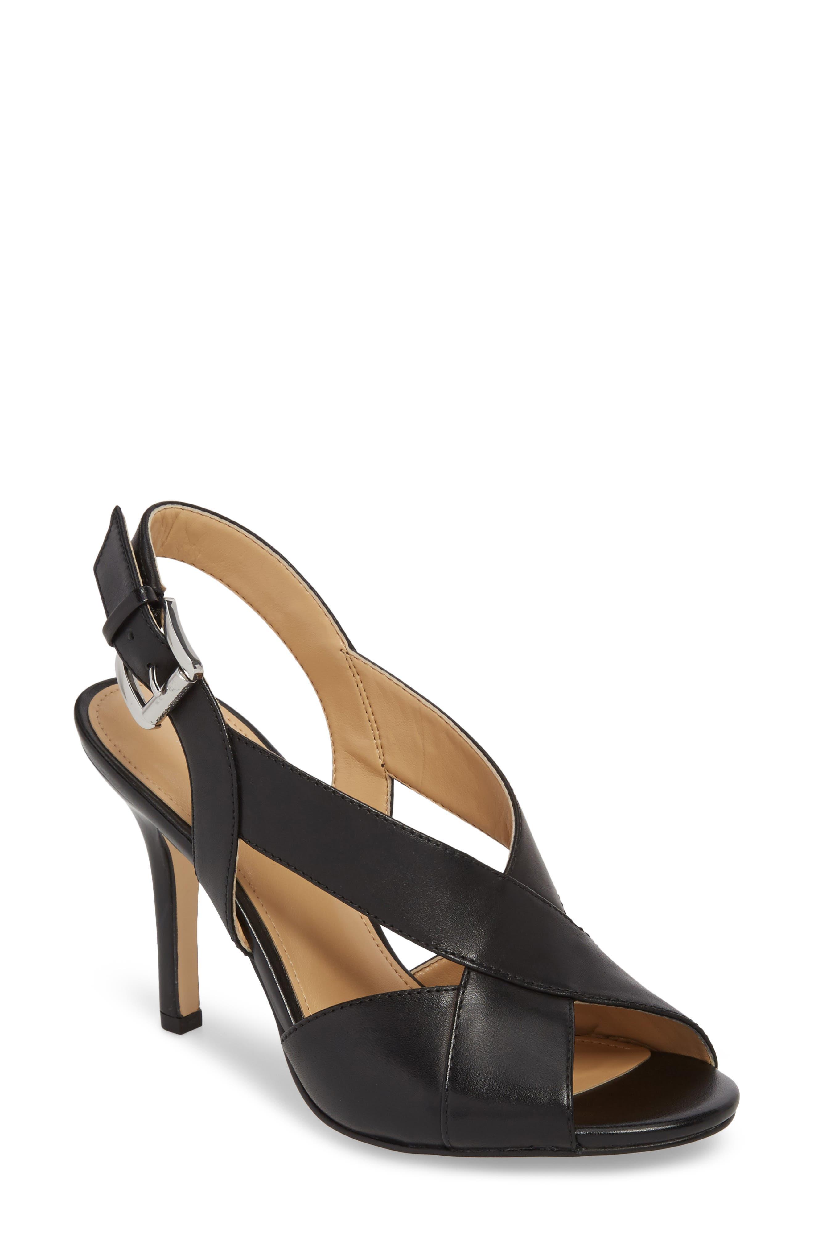 Becky Cross Strap Sandal,                         Main,                         color, BLACK LEATHER