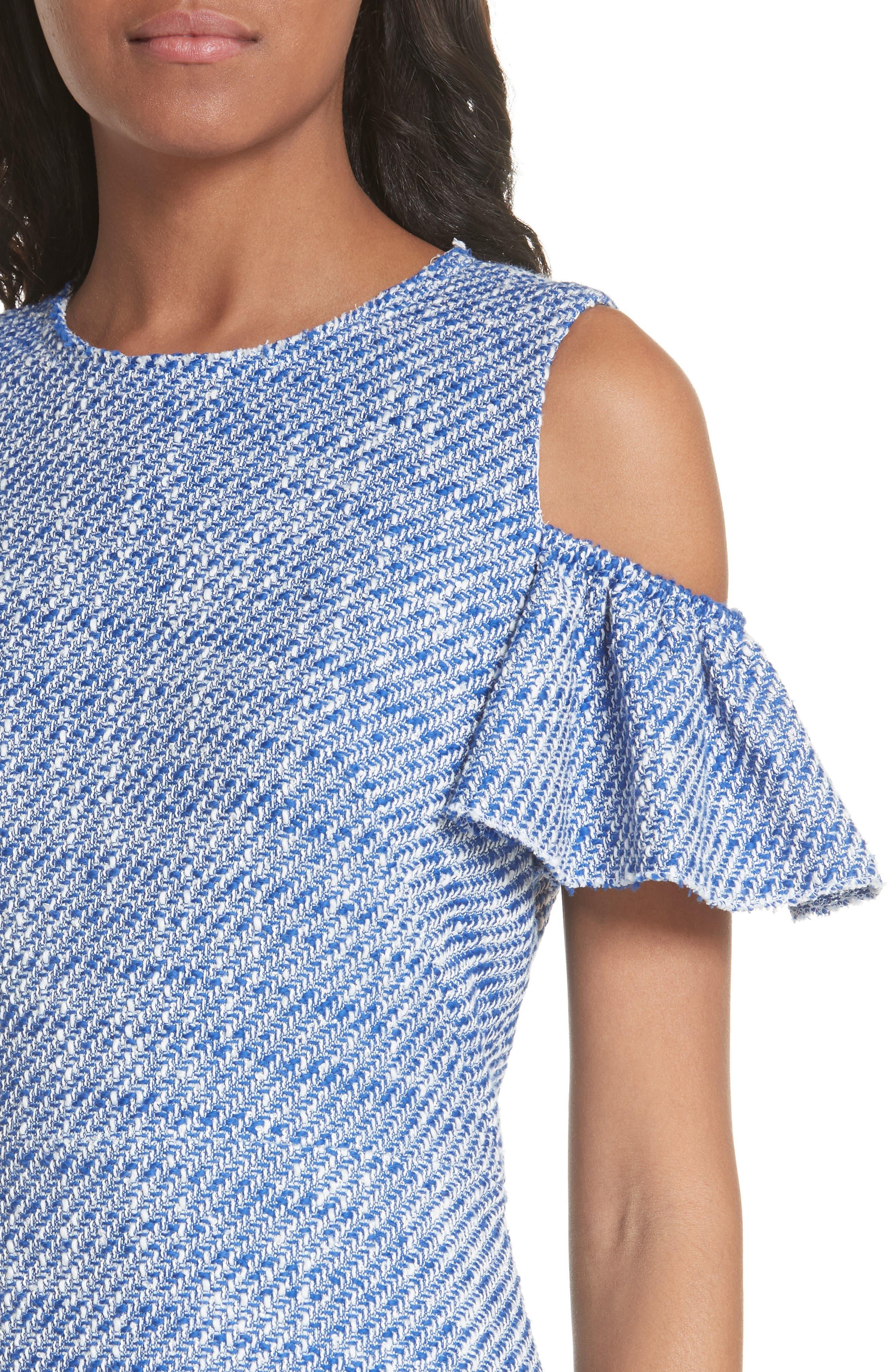 cold shoulder cotton blend tweed dress,                             Alternate thumbnail 4, color,
