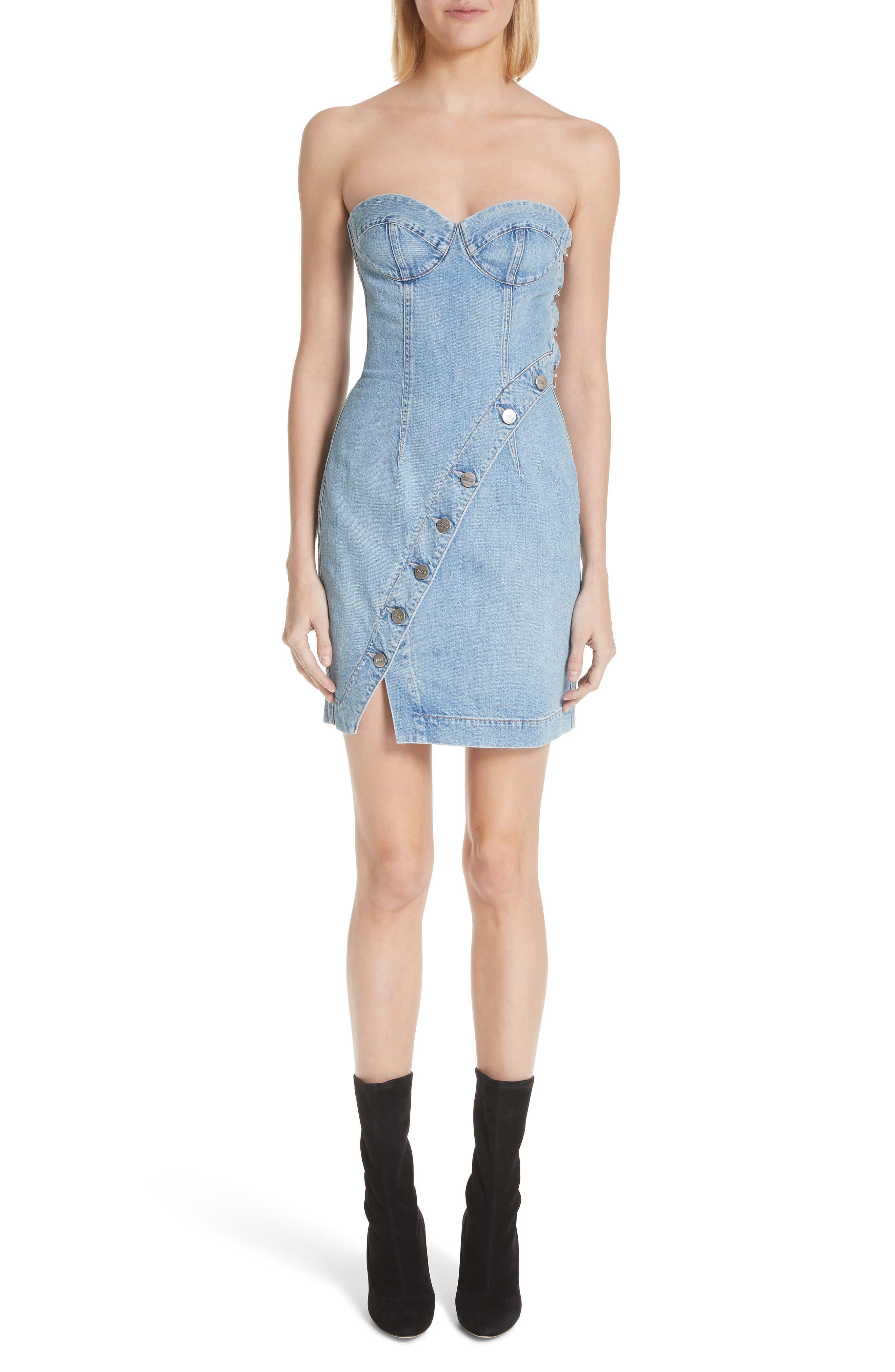 Claudia Strapless Denim Dress,                             Main thumbnail 1, color,                             459