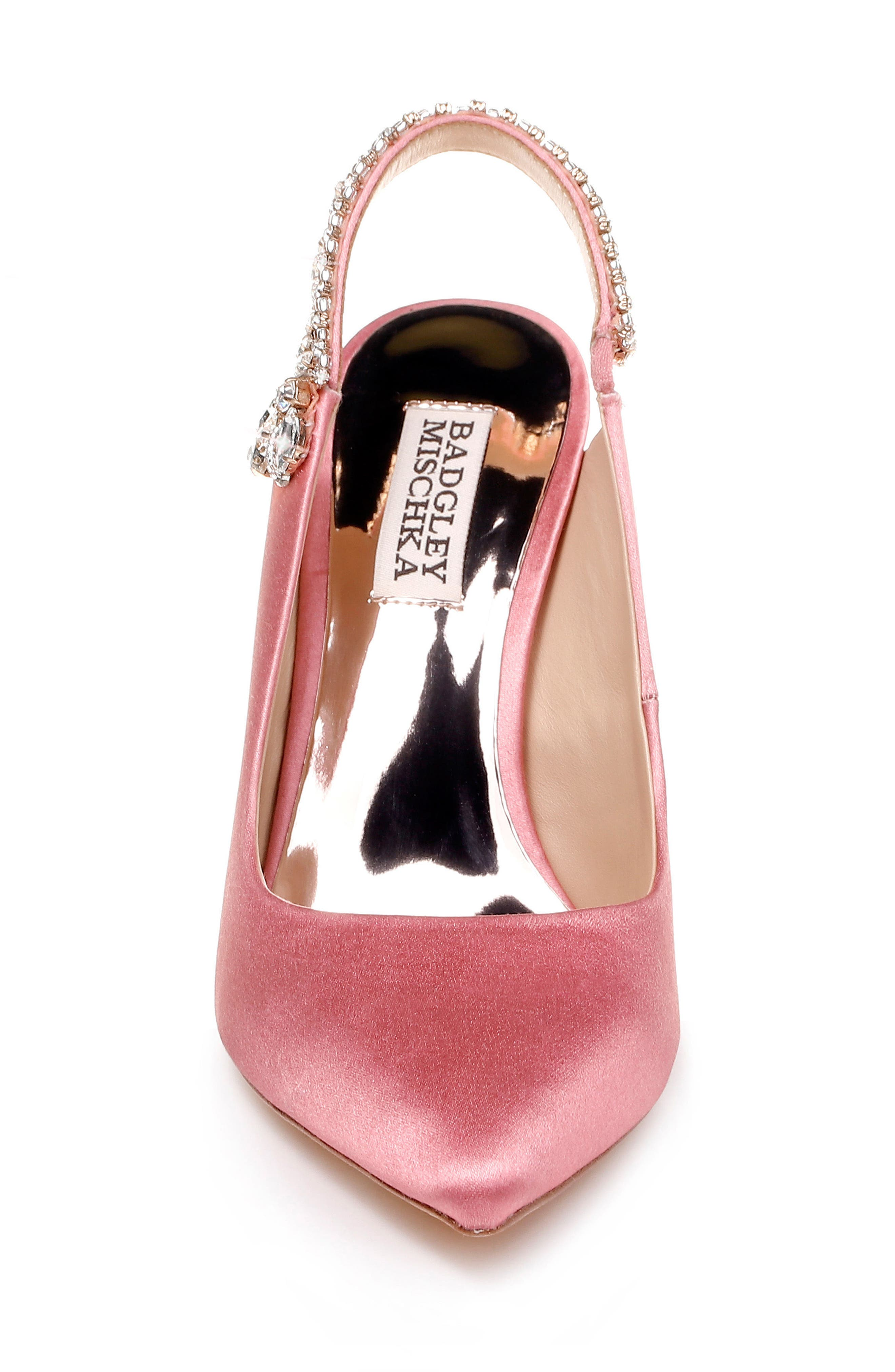 Paxton Pointy Toe Slingback Pump,                             Alternate thumbnail 4, color,                             ROSE SATIN