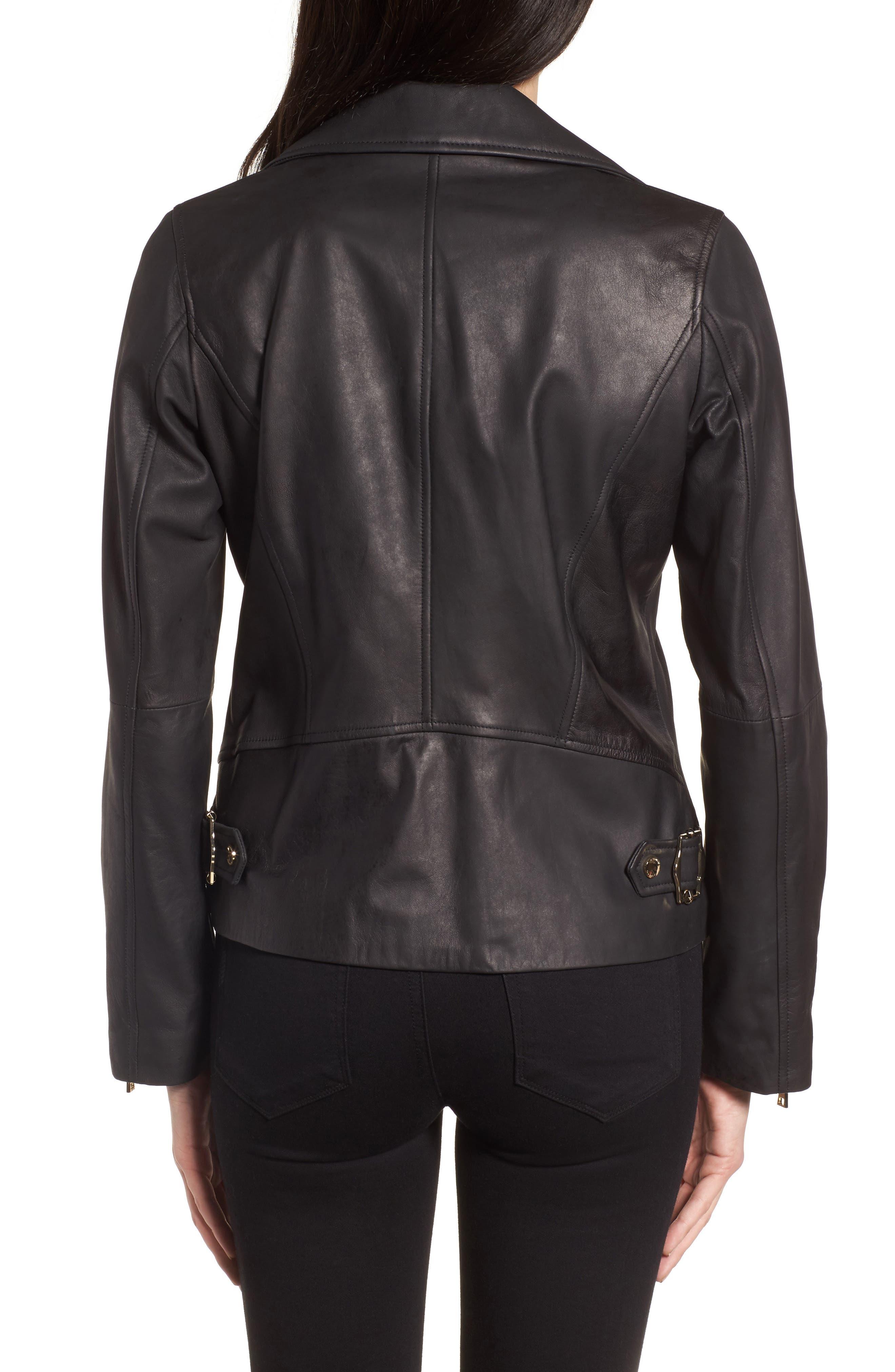 Skylar Leather Moto Jacket,                             Alternate thumbnail 2, color,                             001