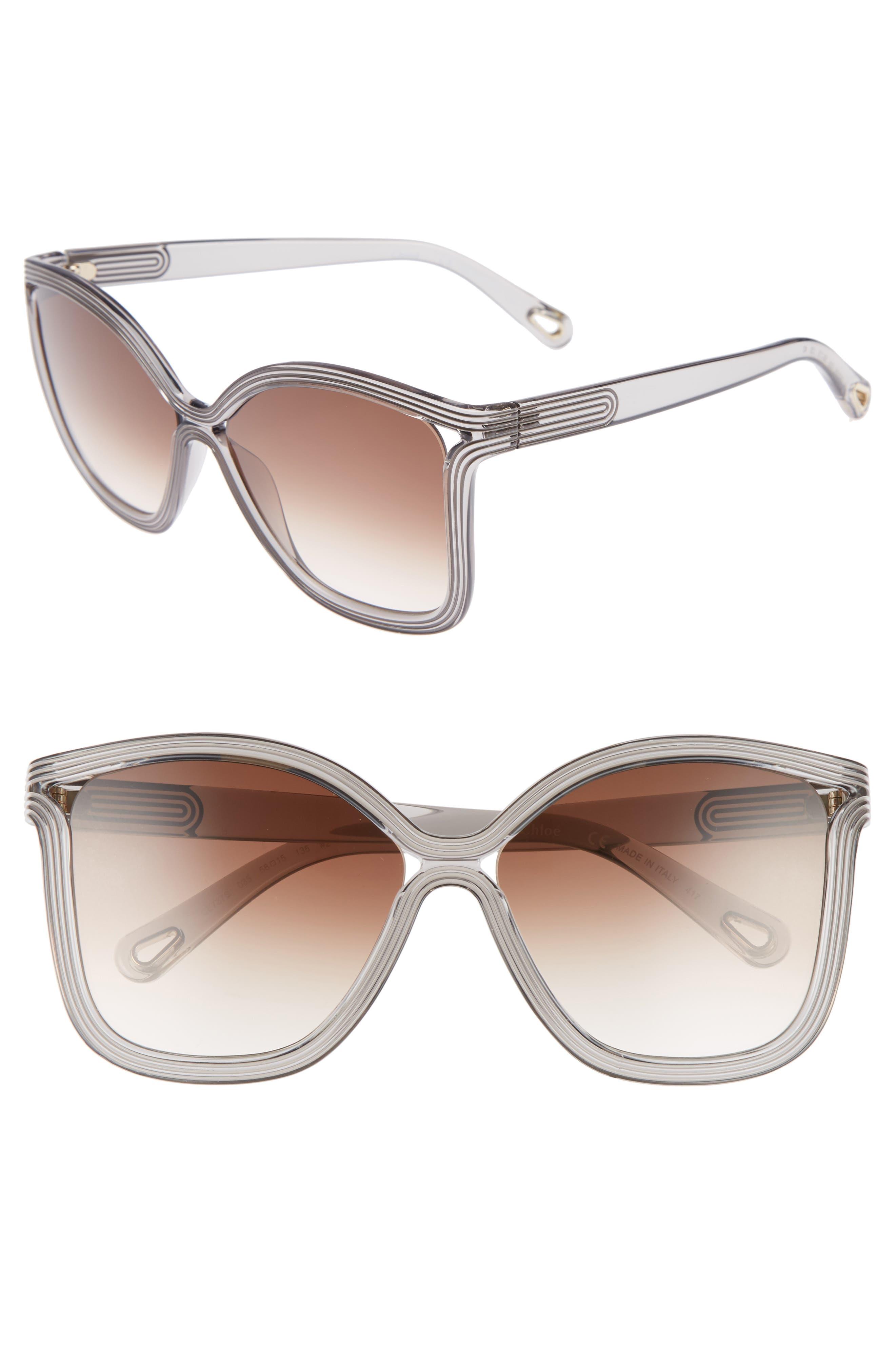 Grooves 58mm Rectangular Sunglasses,                             Main thumbnail 2, color,