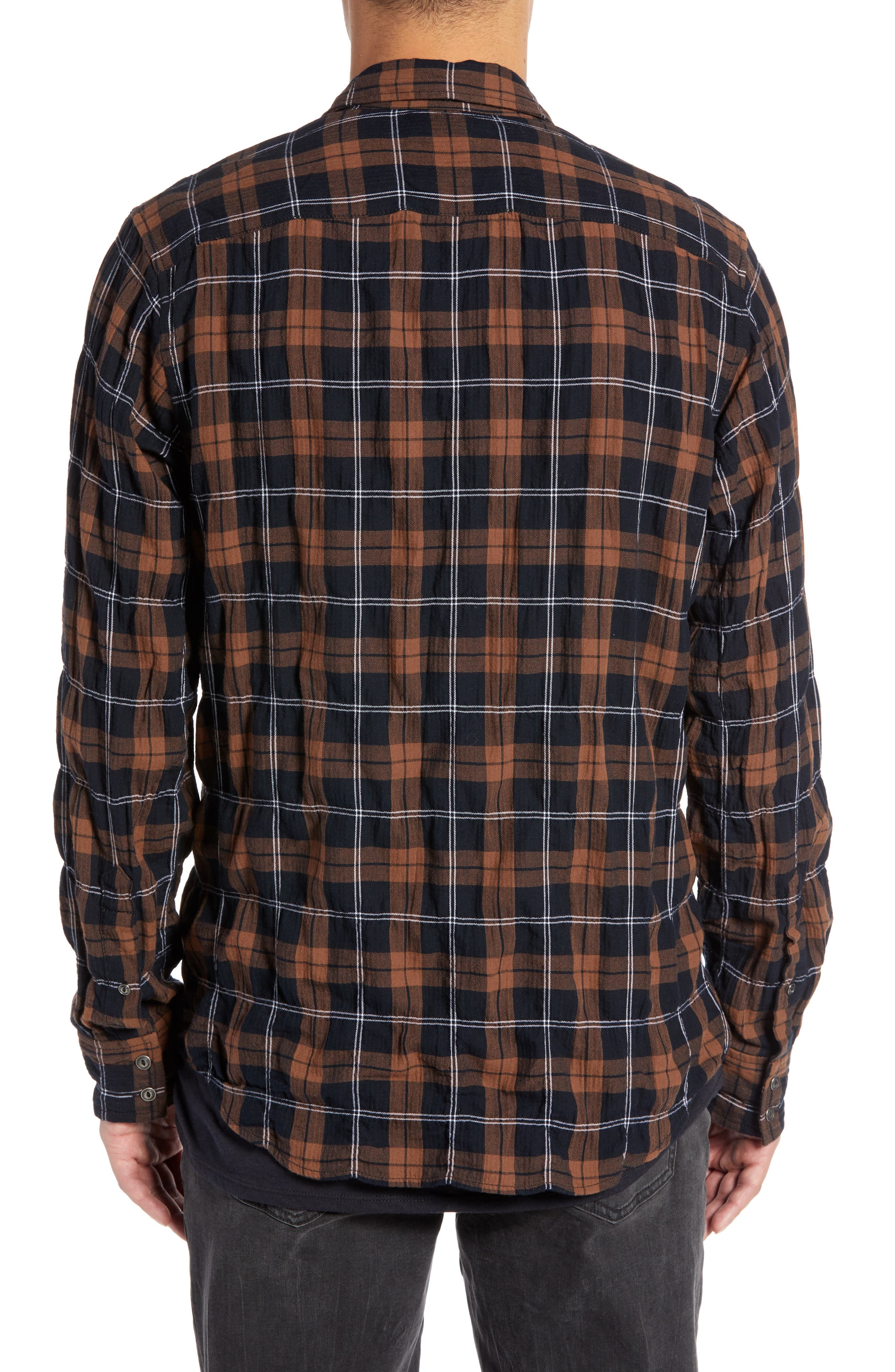 Regular Fit Plaid Sport Shirt,                             Alternate thumbnail 2, color,                             BLACK BROWN SMITH PLAID