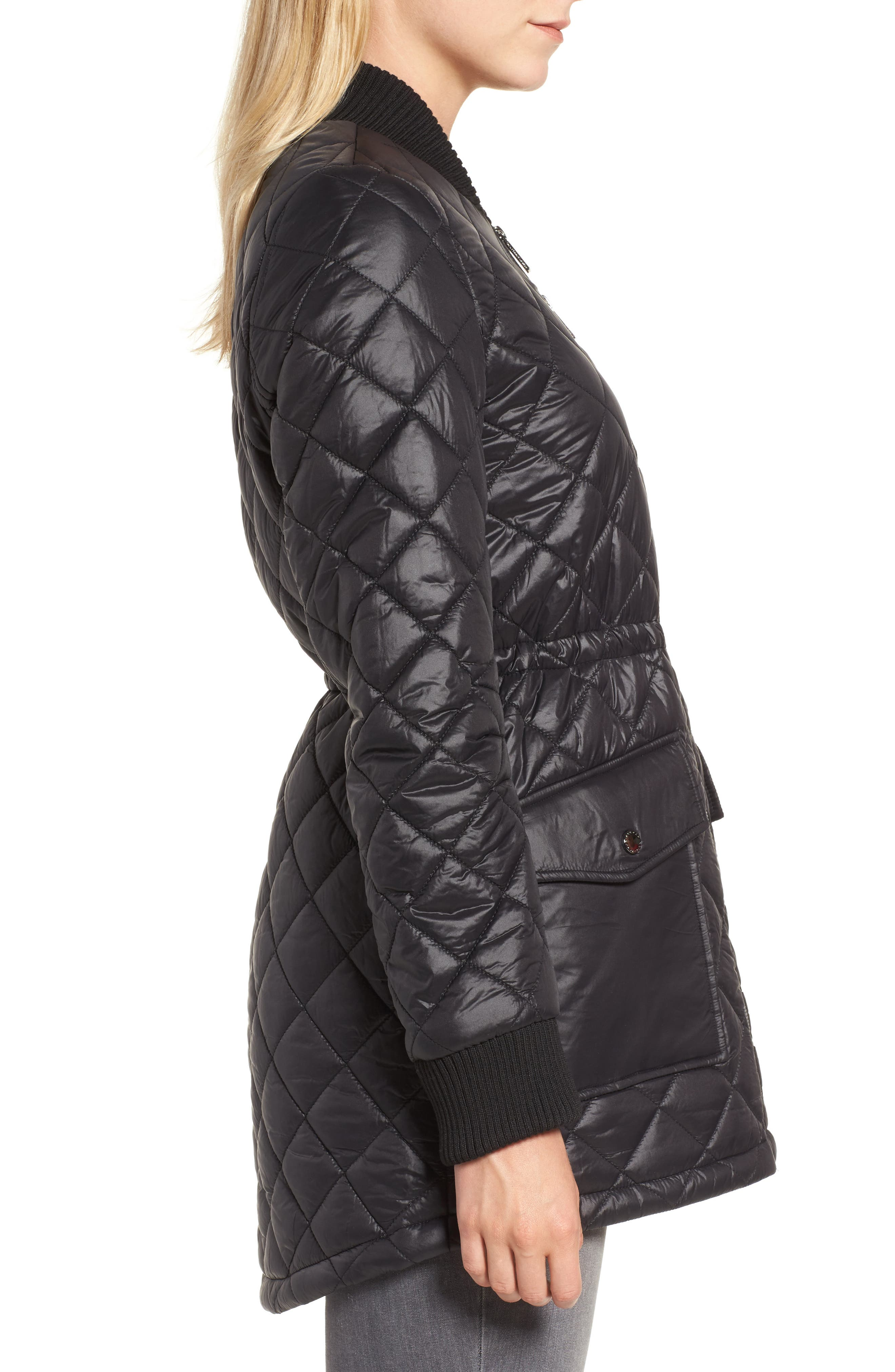 Quilted Anorak Jacket,                             Alternate thumbnail 3, color,                             001