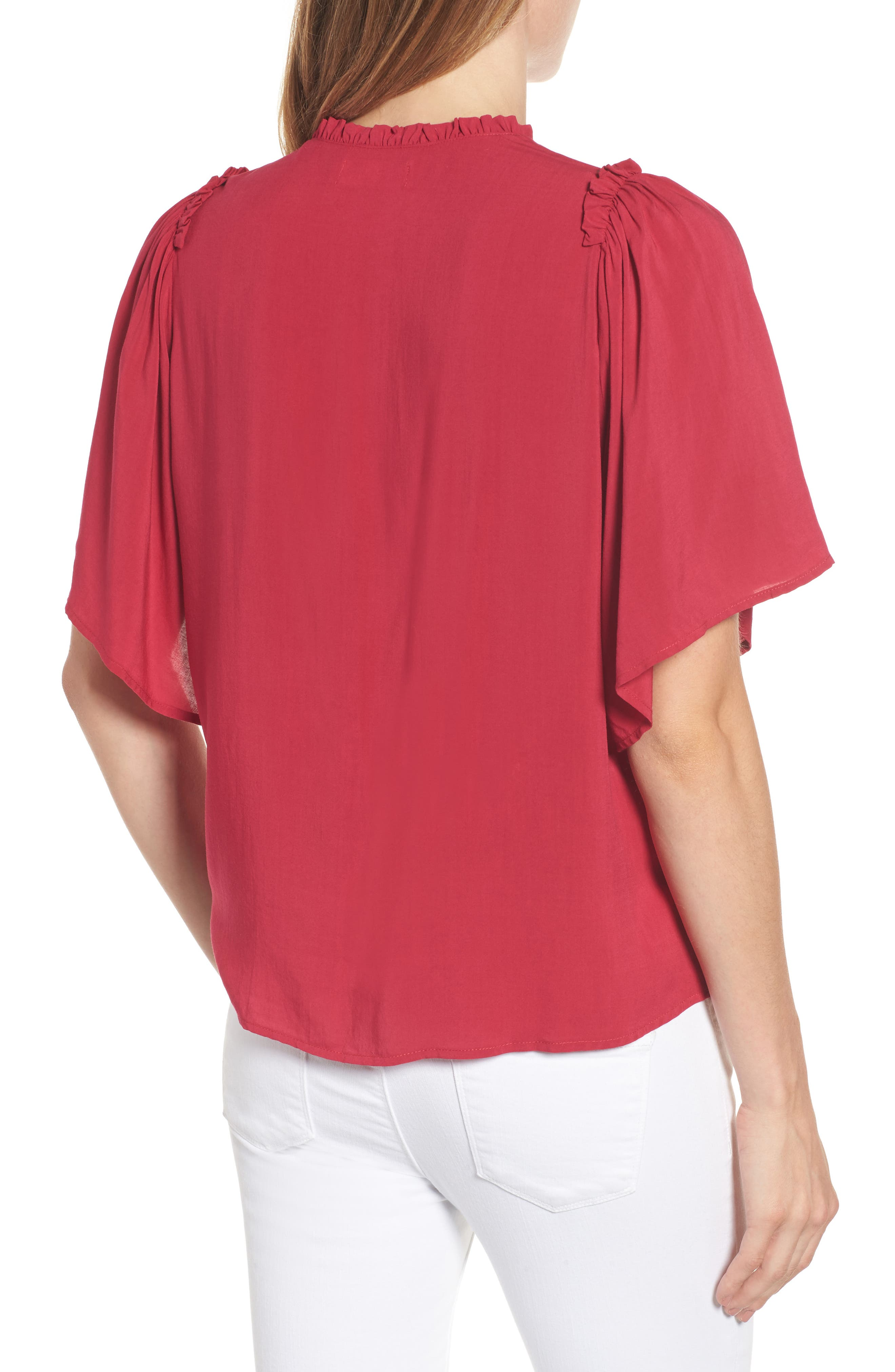 Puff Sleeve Blouse,                             Alternate thumbnail 4, color,