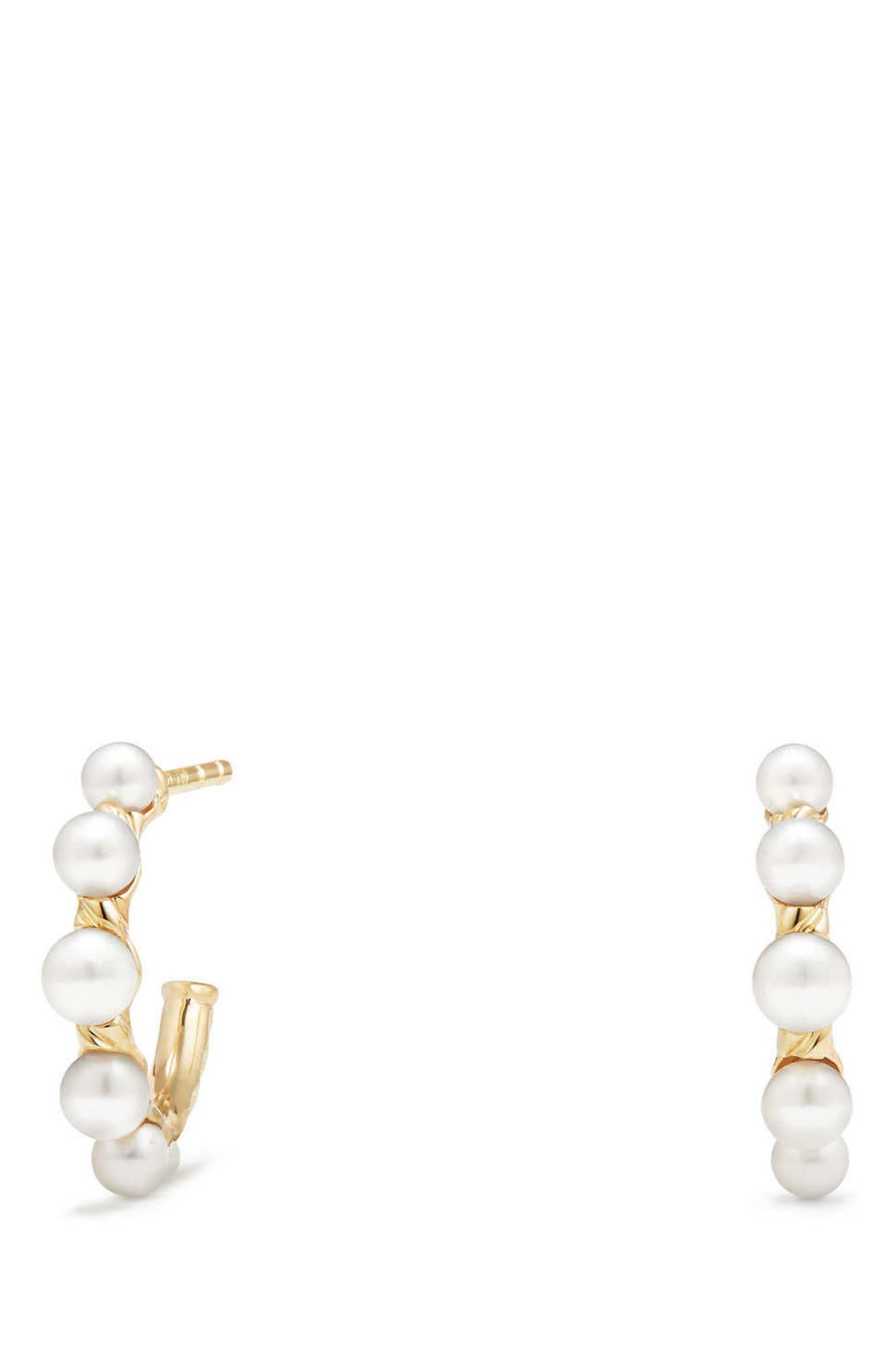 Petite Perle Graduated Pearl Hoop Earrings in 18K Gold,                             Alternate thumbnail 2, color,                             GOLD/ PEARL