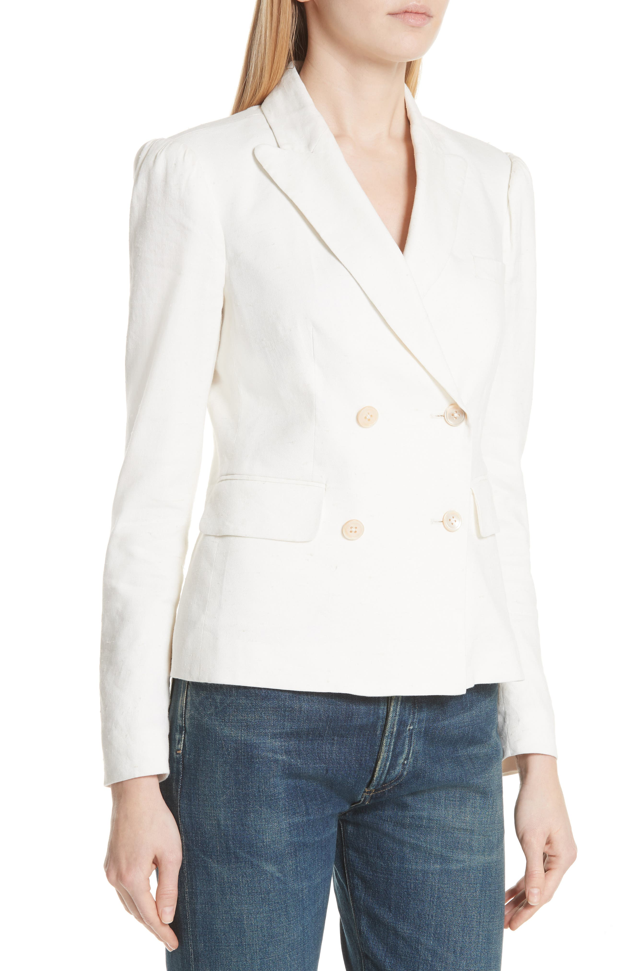 Stretch Linen Blend Blazer,                             Alternate thumbnail 4, color,                             115