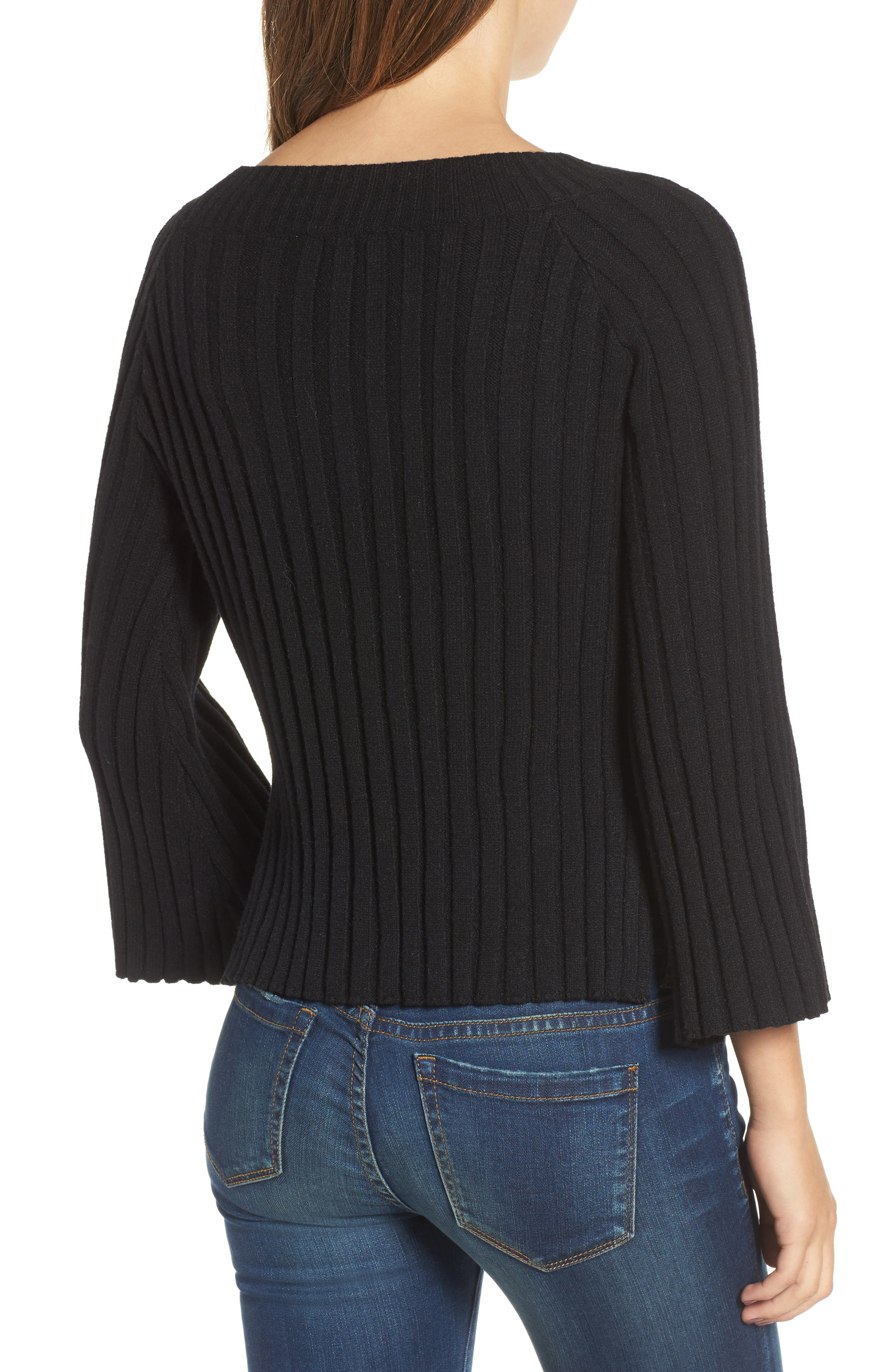 Crop Ribbed Sweater,                             Alternate thumbnail 2, color,                             001