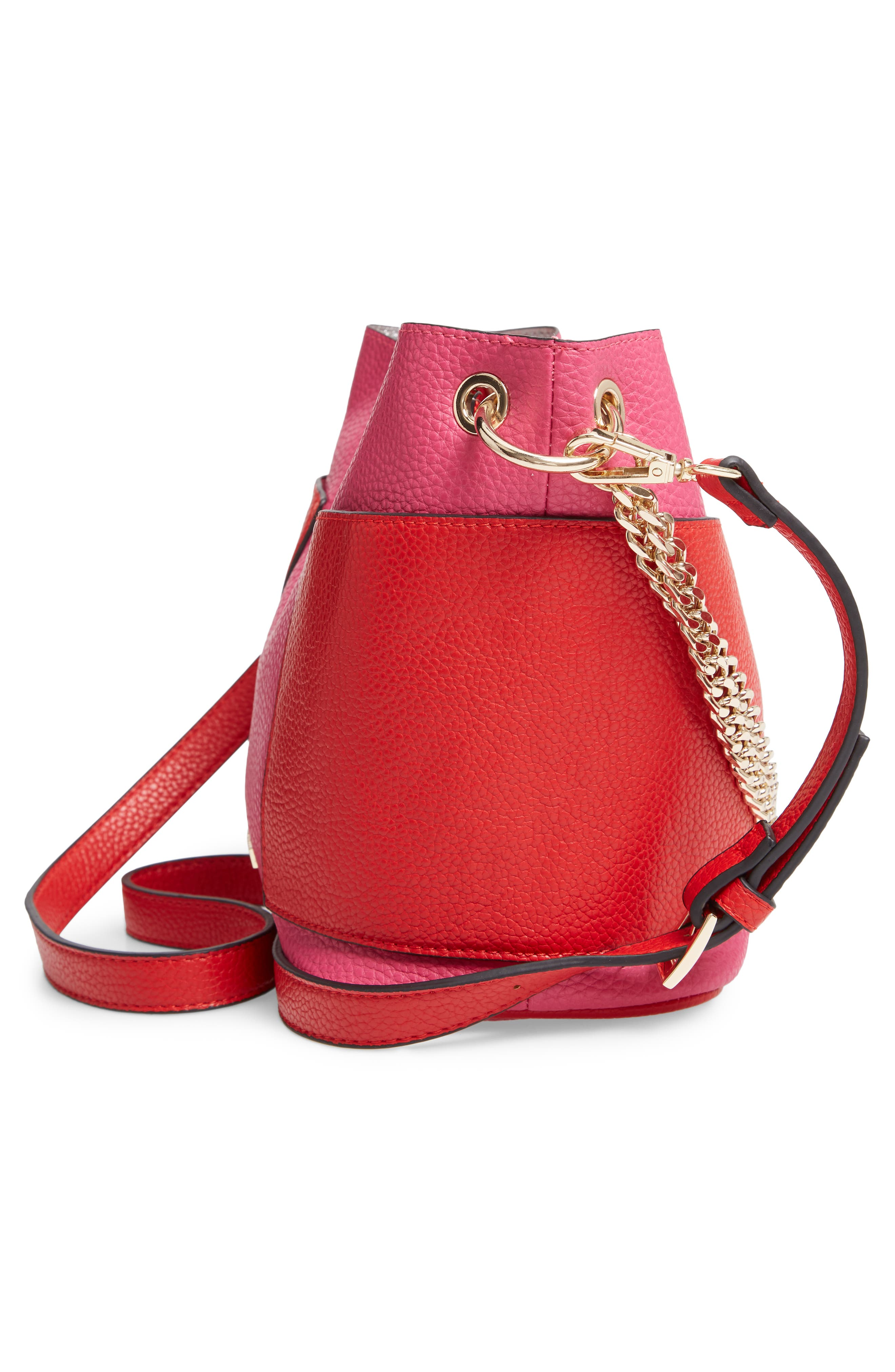 Bettie Faux Leather Bucket Bag,                             Alternate thumbnail 5, color,                             PINK/ MULTI