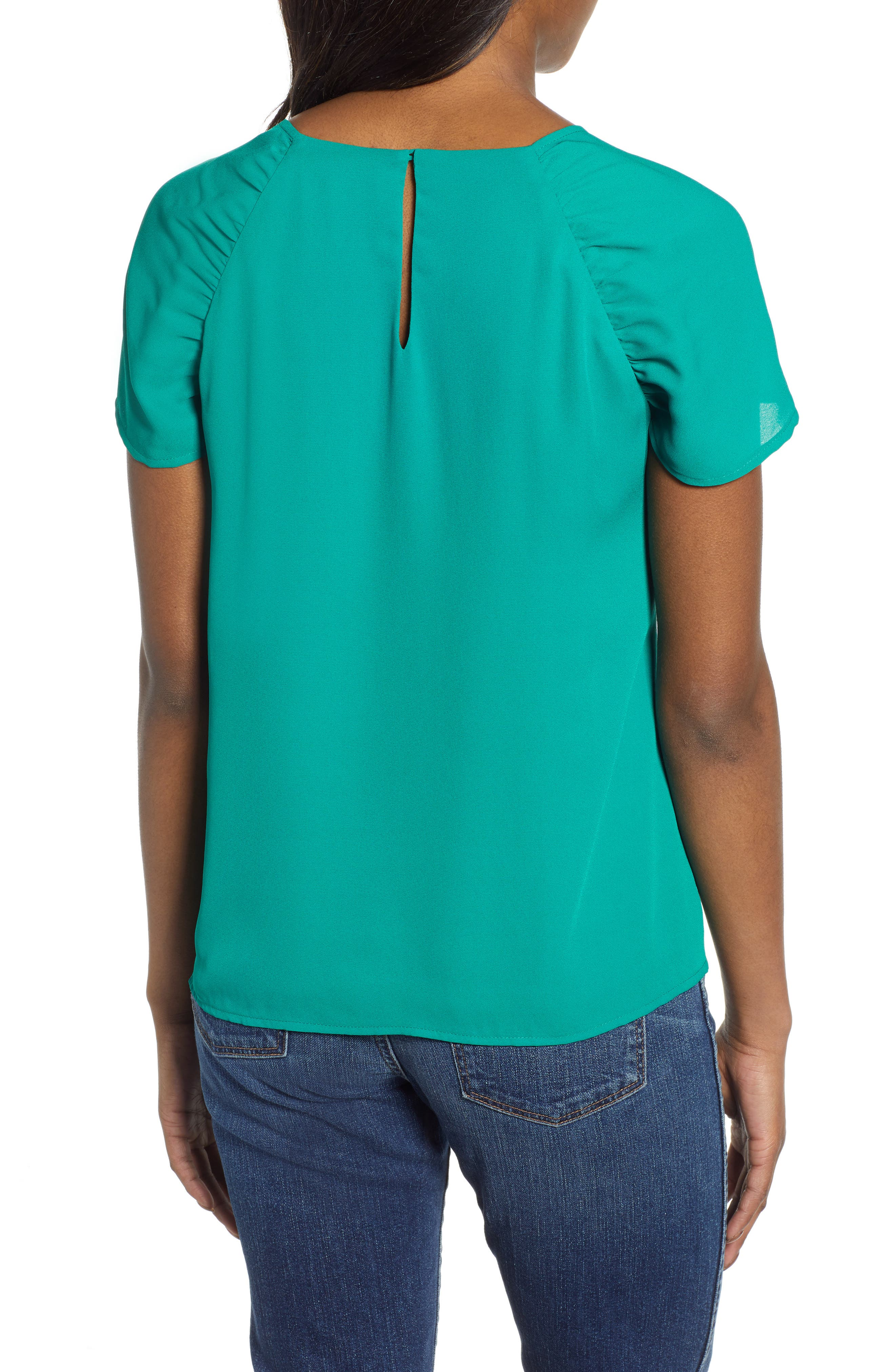 GIBSON,                             x International Women's Day Erin Ruched Sleeve Blouse,                             Alternate thumbnail 2, color,                             GREEN