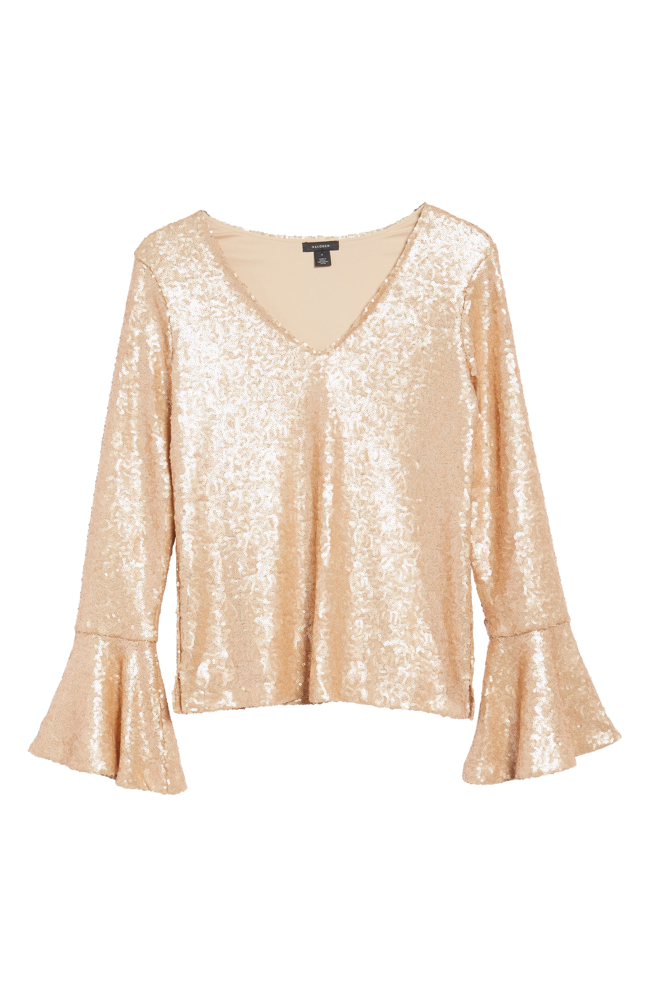 Flare Sleeve Sequin Top,                             Alternate thumbnail 12, color,