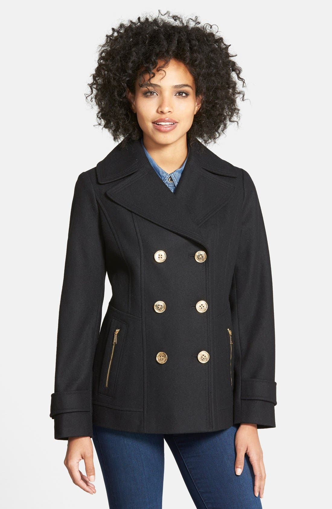MICHAEL MICHAEL KORS Wool Blend Peacoat, Main, color, 001
