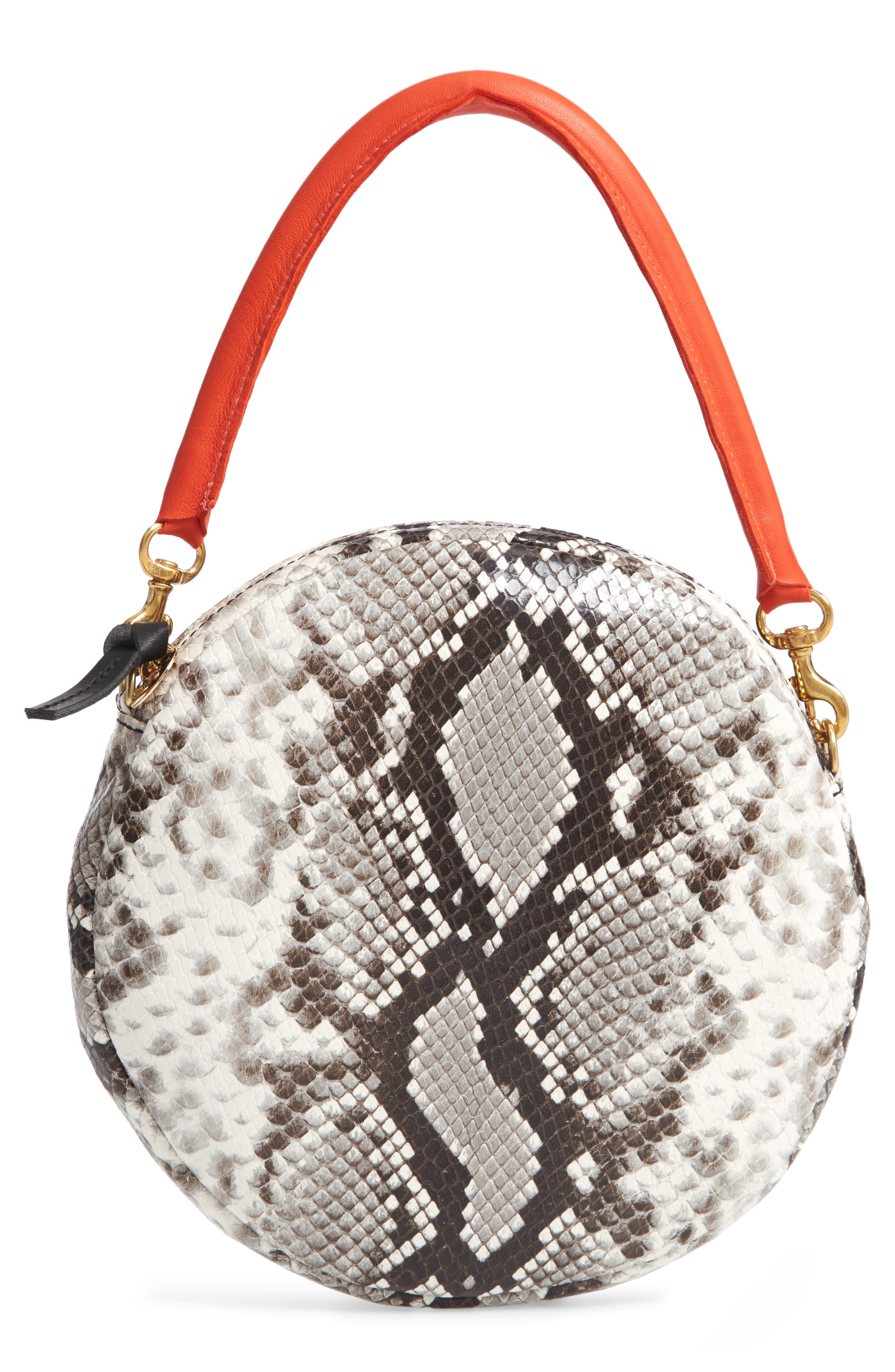 Python Embossed Leather Circle Clutch,                             Main thumbnail 1, color,                             001