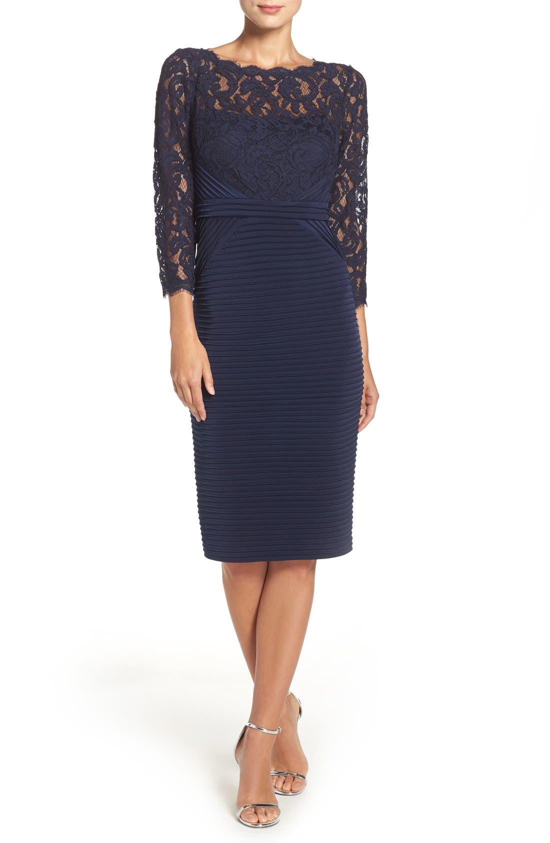 Lace & Jersey Sheath Dress,                             Alternate thumbnail 3, color,                             412