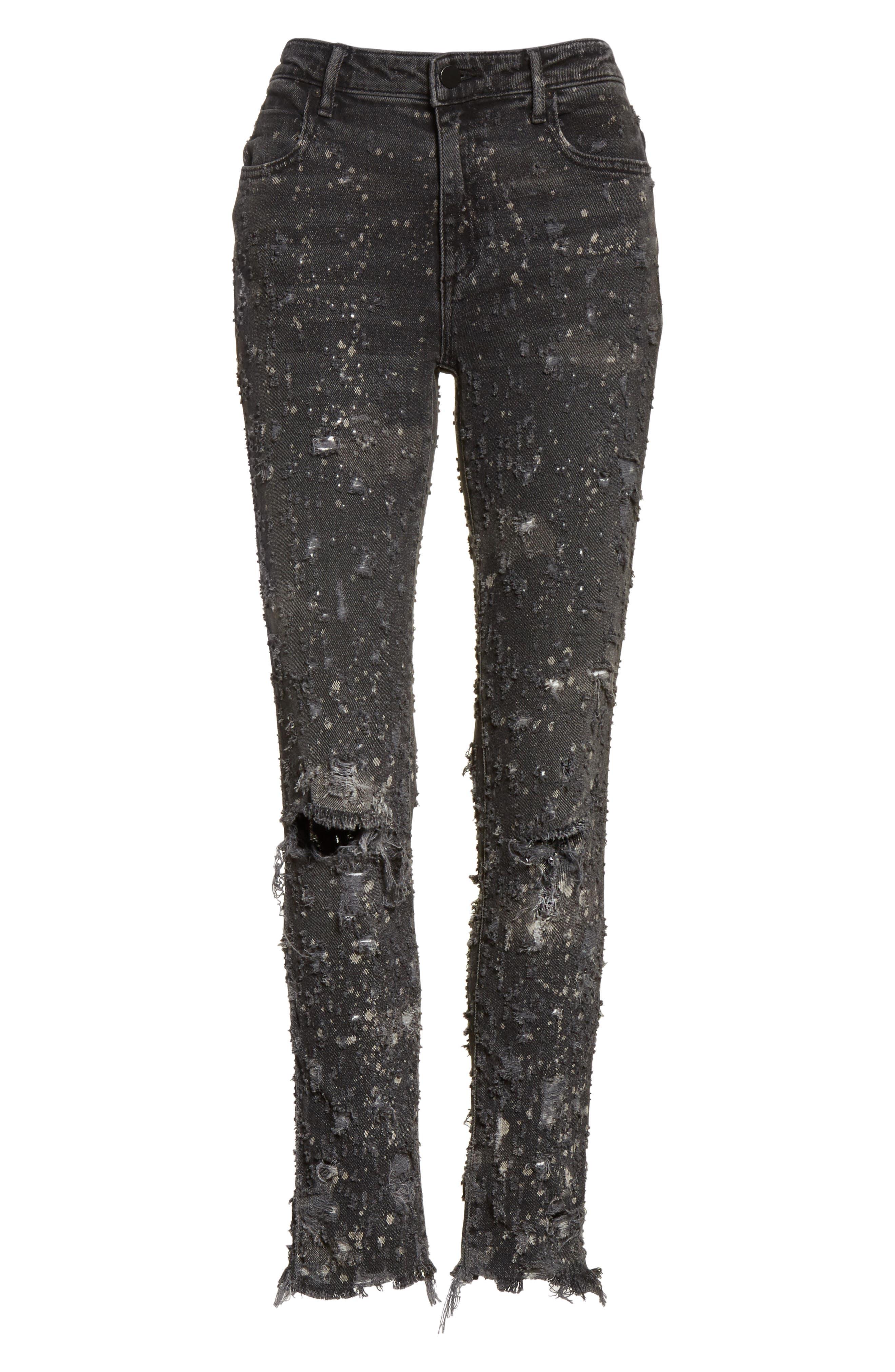 Denim X Alexander Wang Slim Destroyed Jeans,                             Alternate thumbnail 6, color,                             023