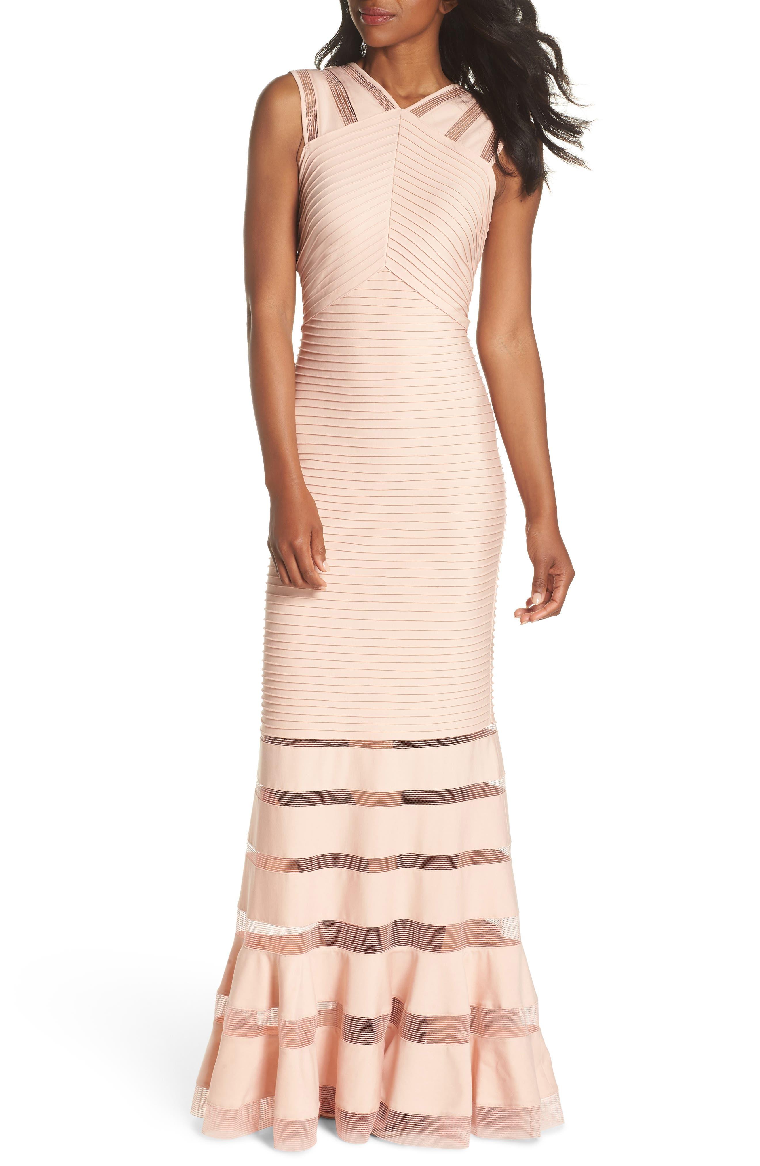 Mesh Inset Pintuck Dress,                         Main,                         color, PETAL/ BLOOM