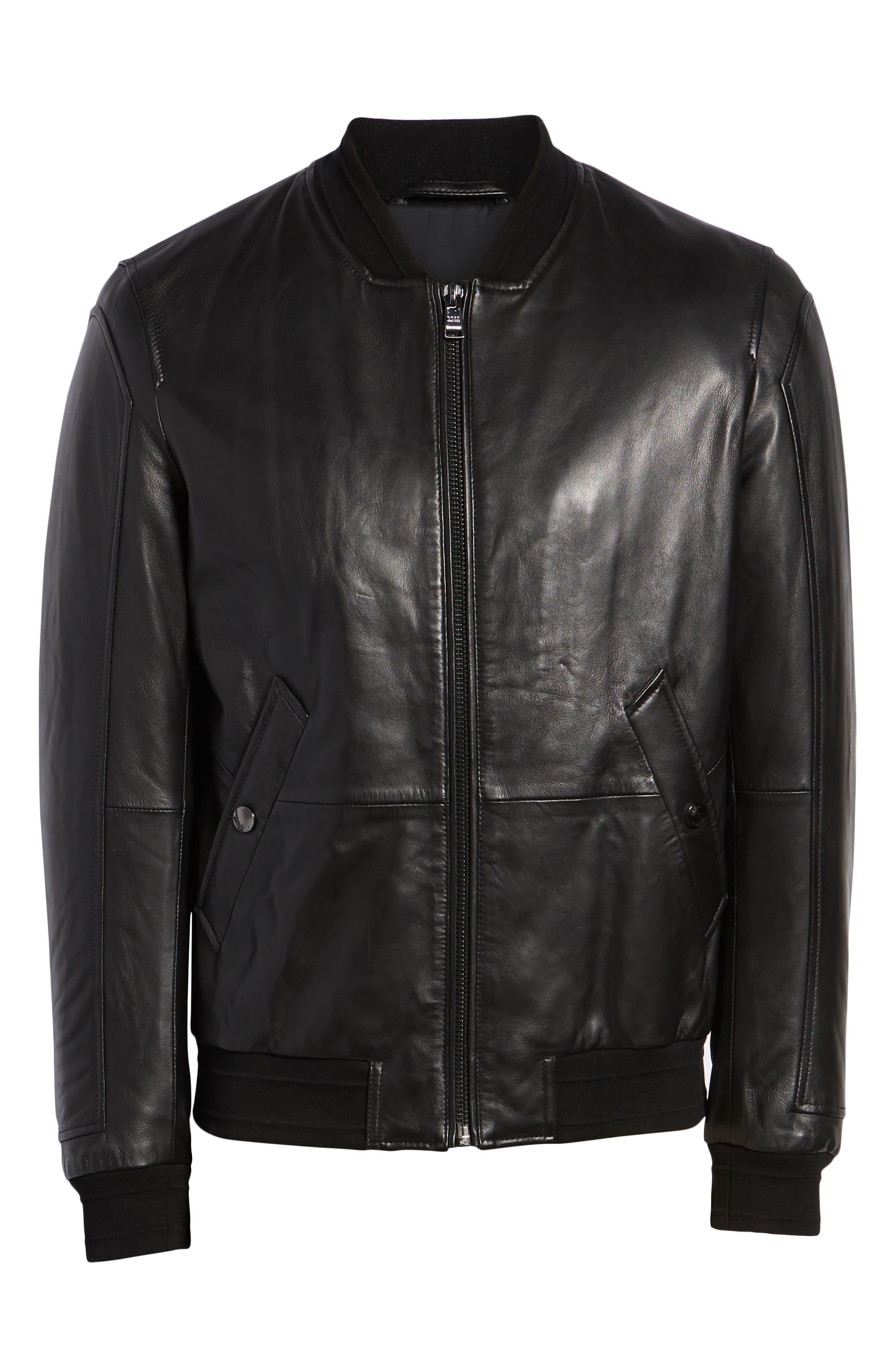 Arinos Leather Bomber Jacket,                             Alternate thumbnail 5, color,                             BLACK