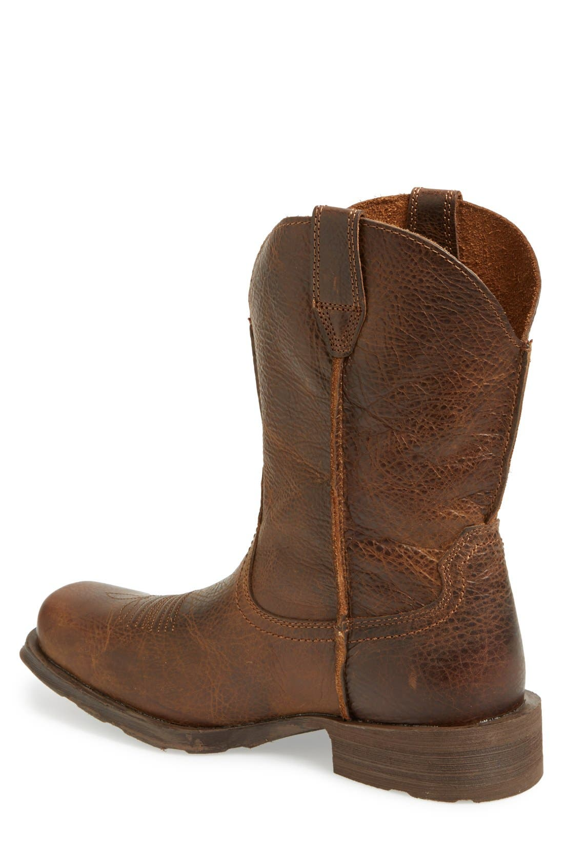 'Rambler' Square Toe Leather Cowboy Boot,                             Alternate thumbnail 3, color,                             BROWN