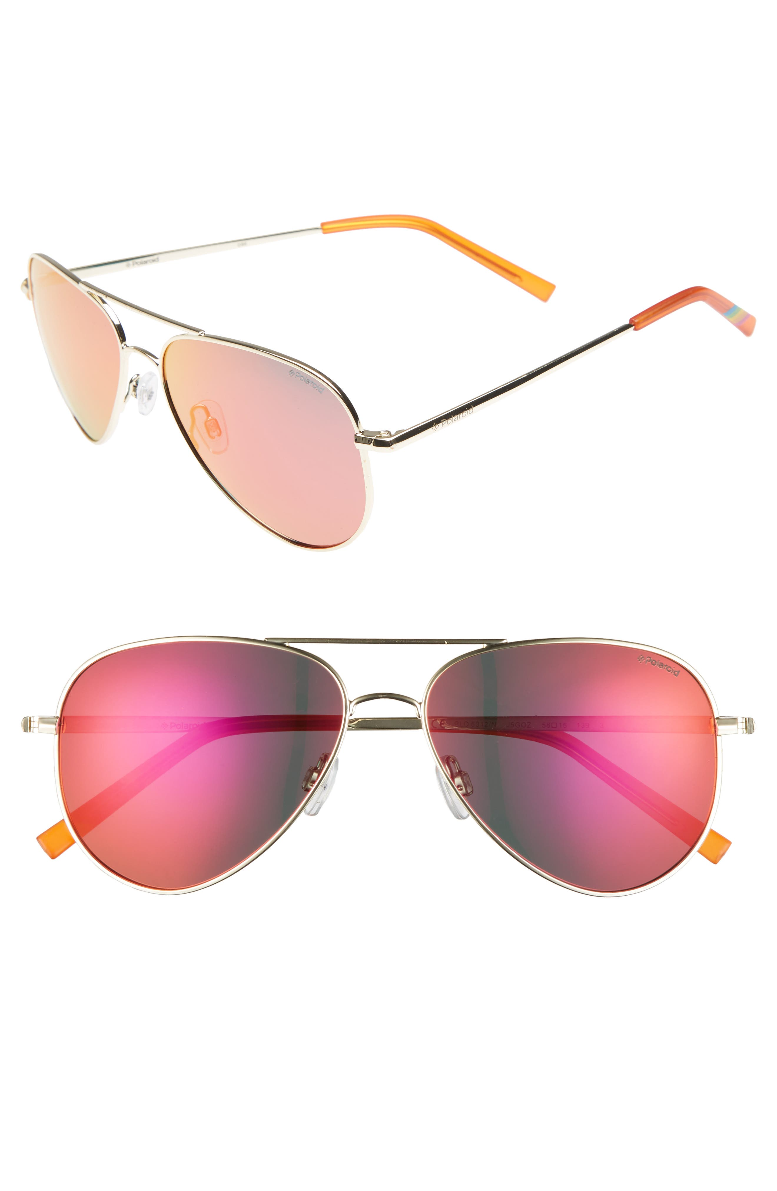 56mm Polarized Aviator Sunglasses,                             Main thumbnail 1, color,                             GOLD/ RED MIRROR