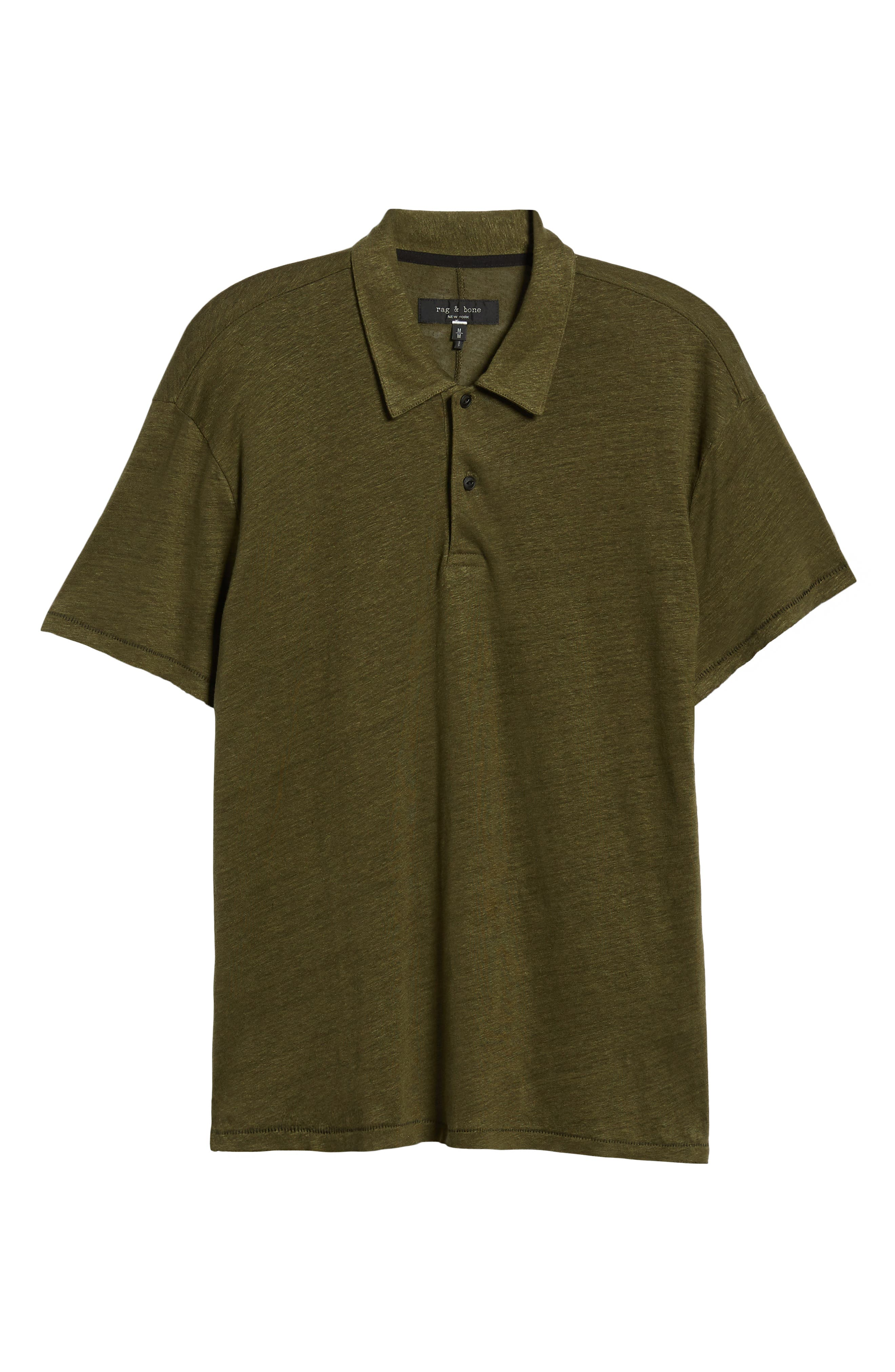 Owen Regular Fit Linen Polo,                             Alternate thumbnail 6, color,                             ARMY