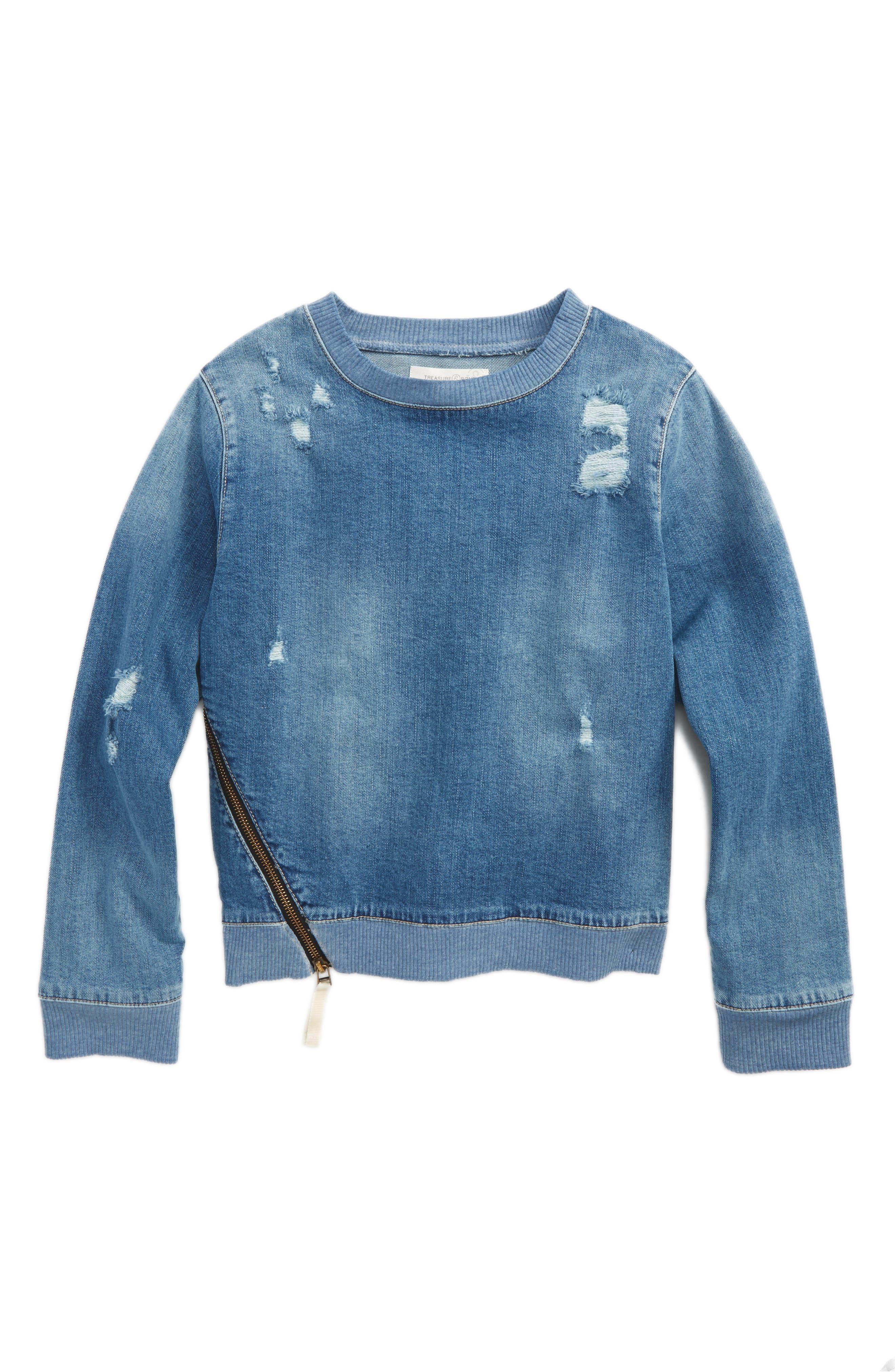 Denim Sweatshirt,                         Main,                         color, 450