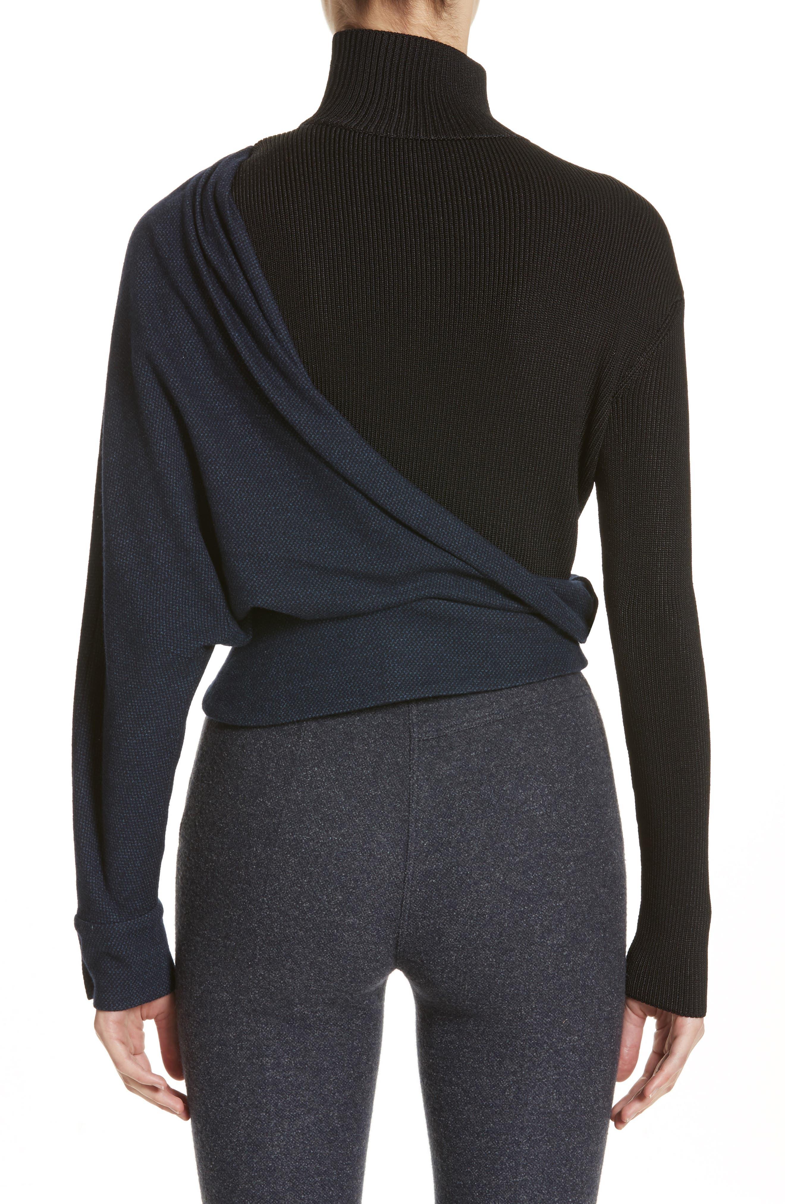 Tweed Jersey & Knit Turtleneck Sweater,                             Alternate thumbnail 2, color,                             400