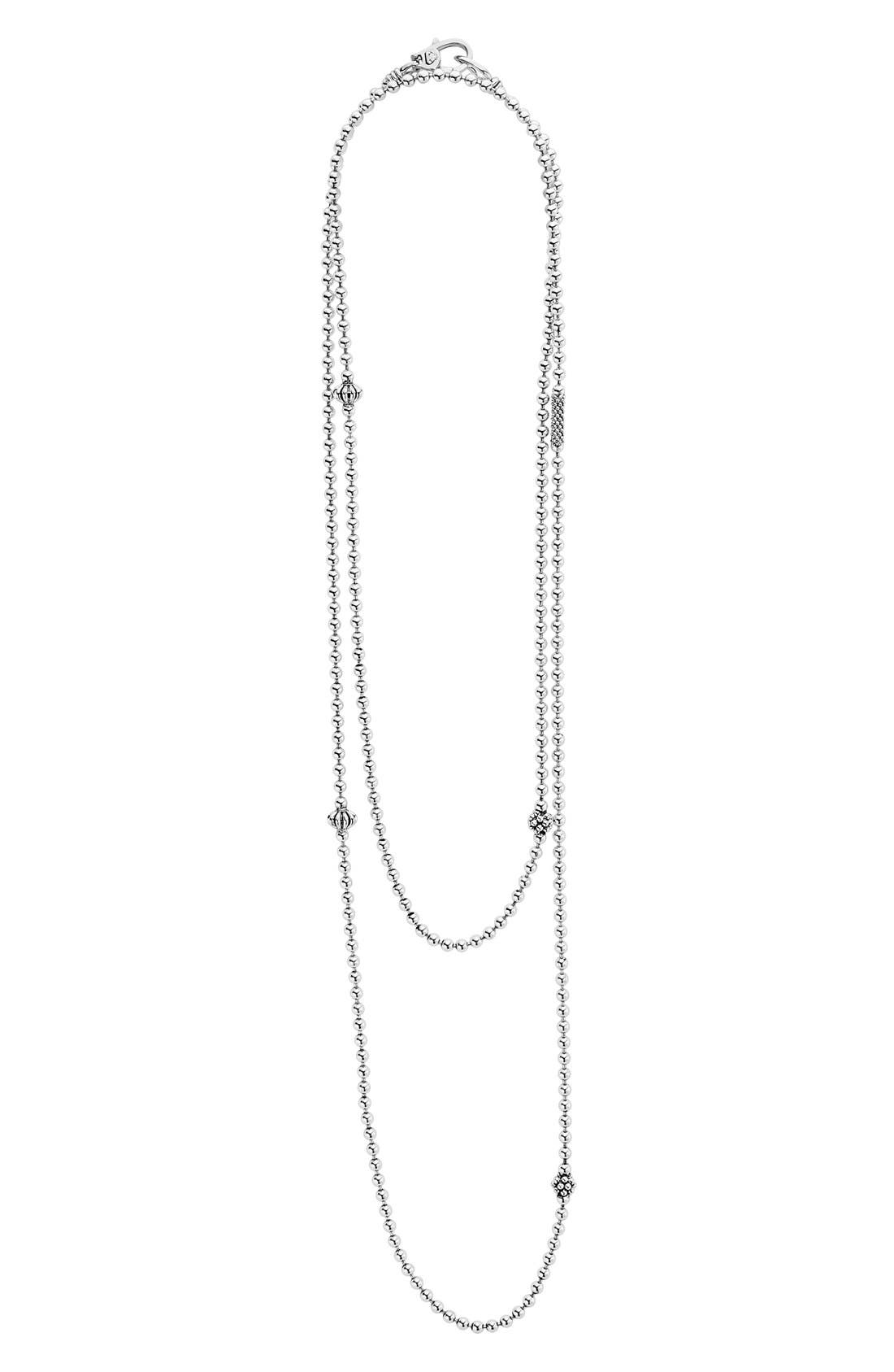 LAGOS,                             'Caviar Icon' Strand Necklace,                             Alternate thumbnail 3, color,                             SILVER