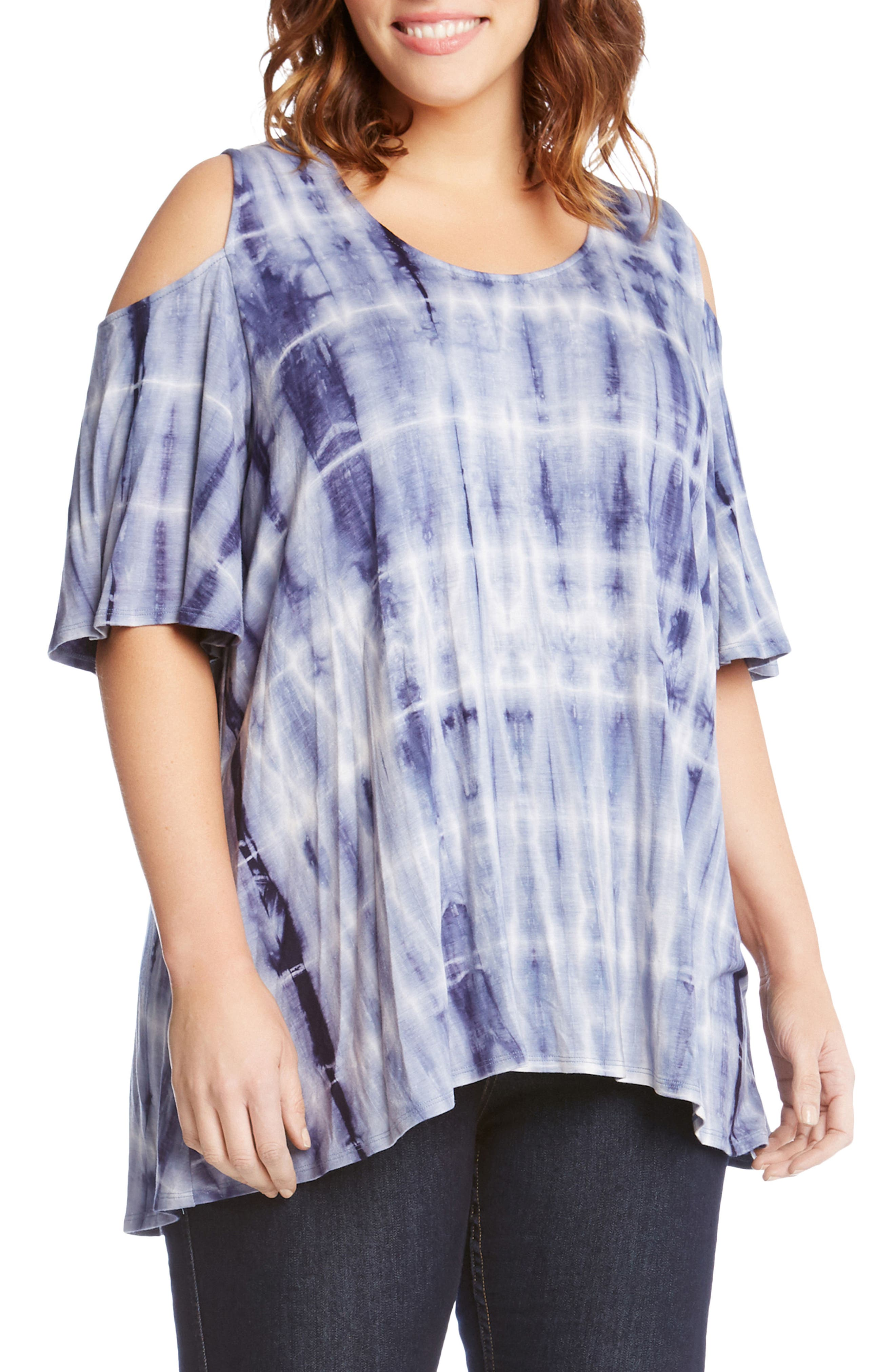 Tie Dye Cold Shoulder Top,                             Alternate thumbnail 3, color,                             400