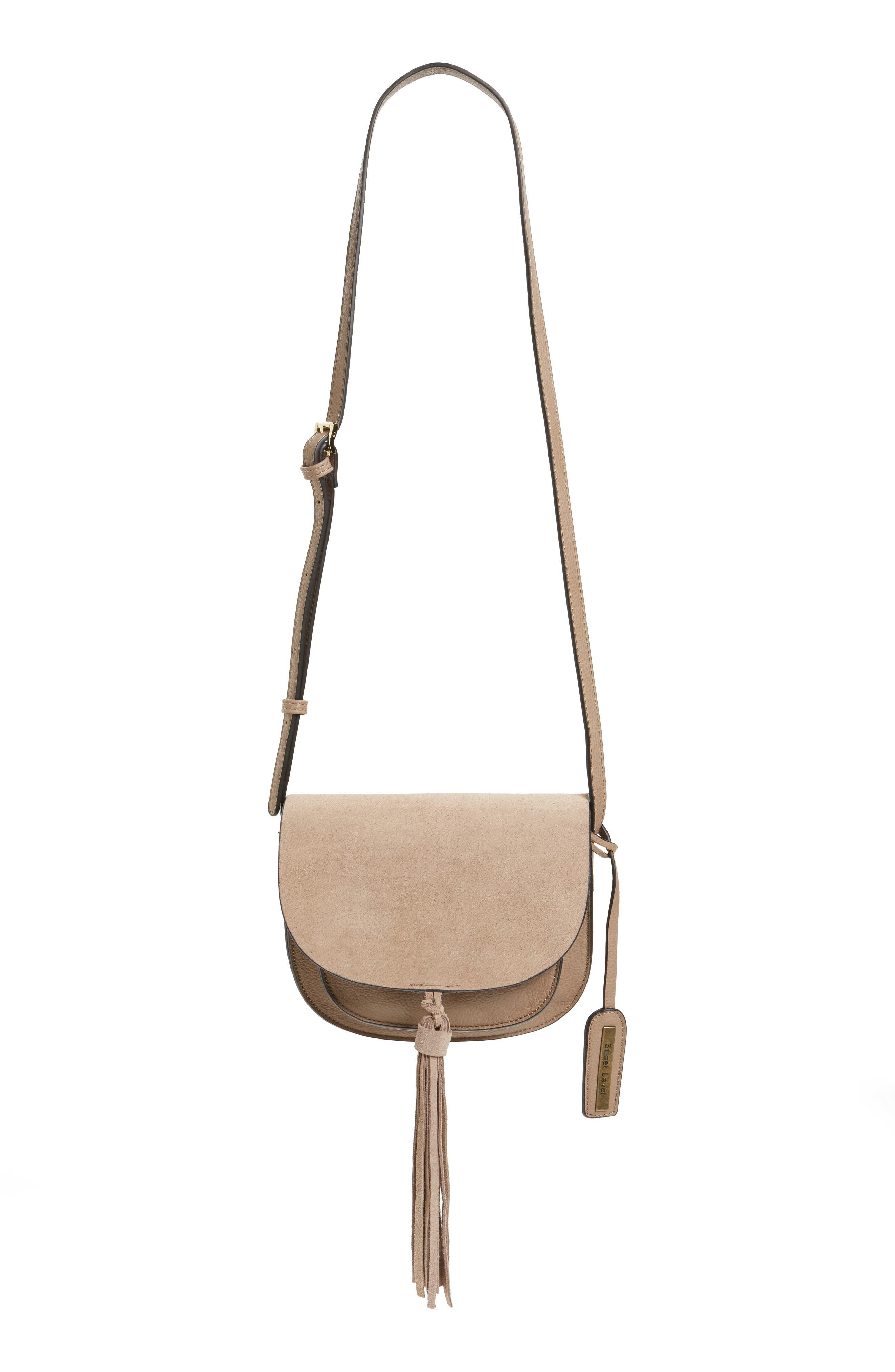 Tassel Faux Leather Crossbody Bag,                             Main thumbnail 1, color,                             250