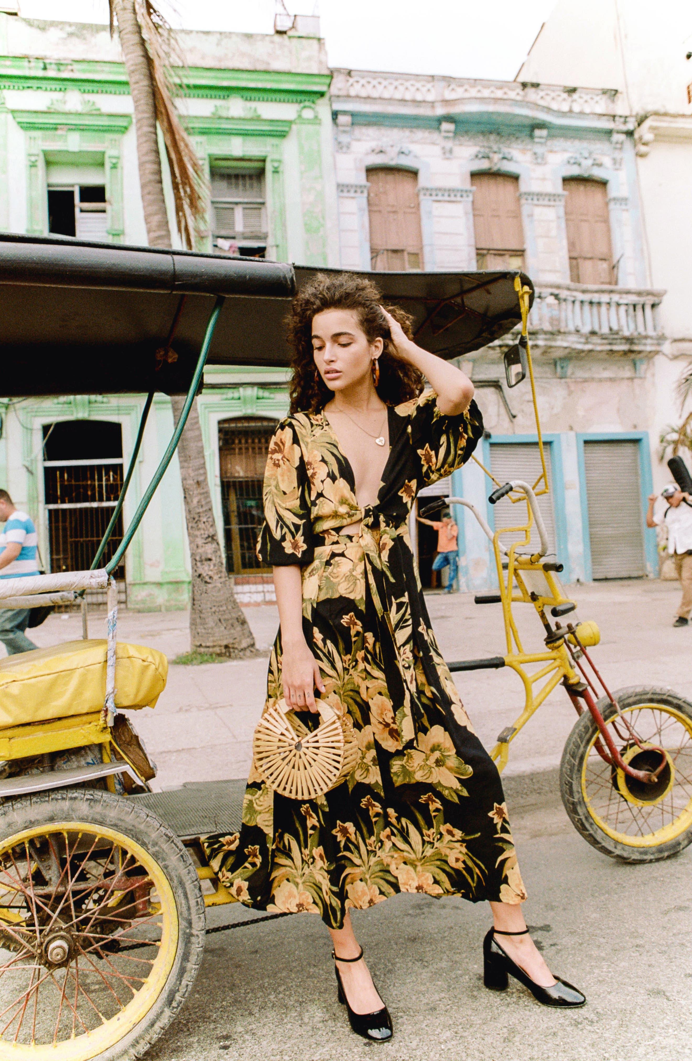 Oliviera Floral Print Cutout Midi Dress,                             Alternate thumbnail 8, color,                             CARIBBEAN PRINT