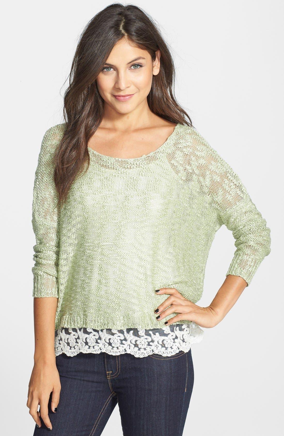 LOVE BY DESIGN,                             Crochet Hem Sweater,                             Main thumbnail 1, color,                             330