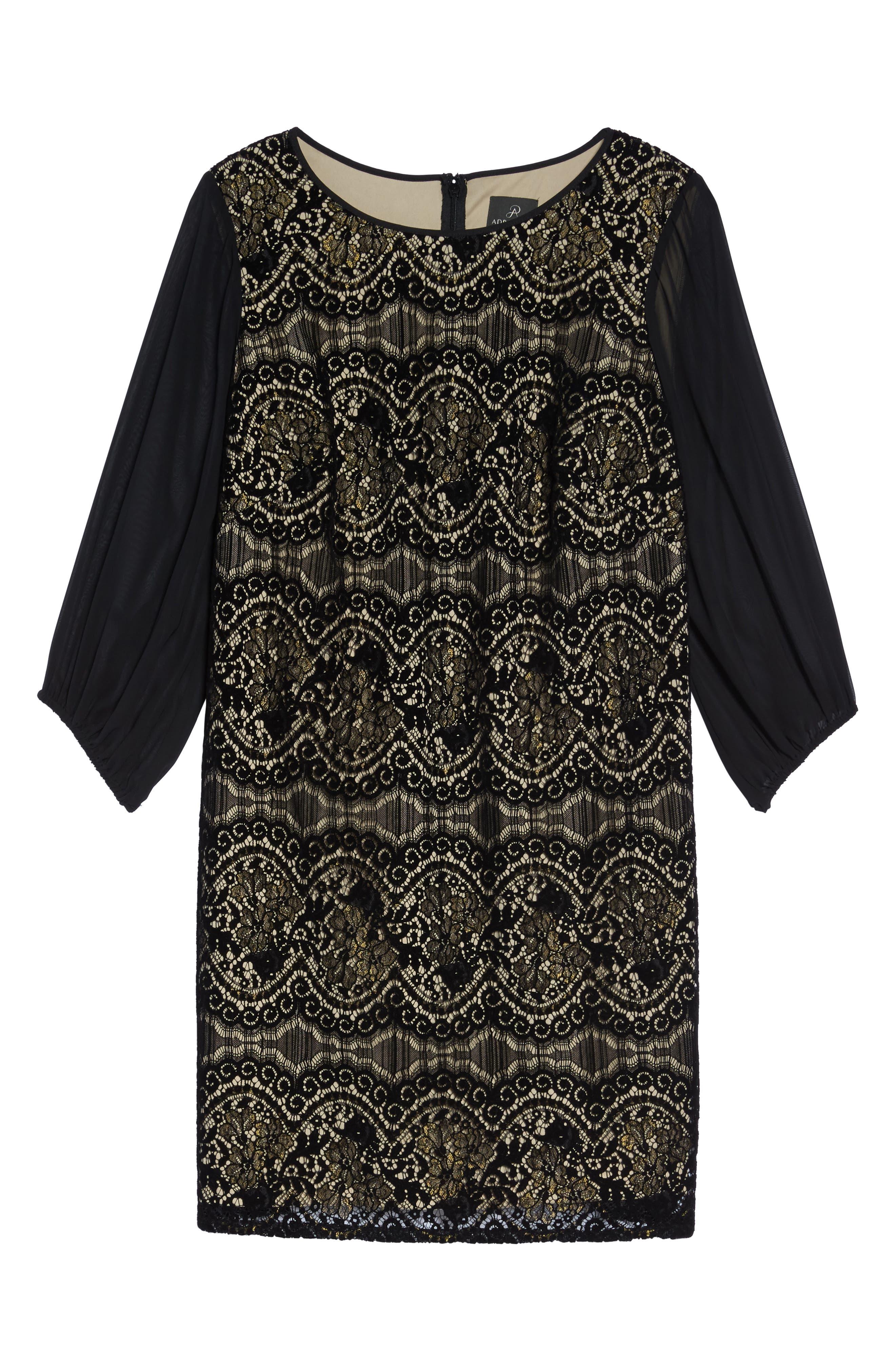 Flocked Lace Shift Dress,                             Alternate thumbnail 6, color,