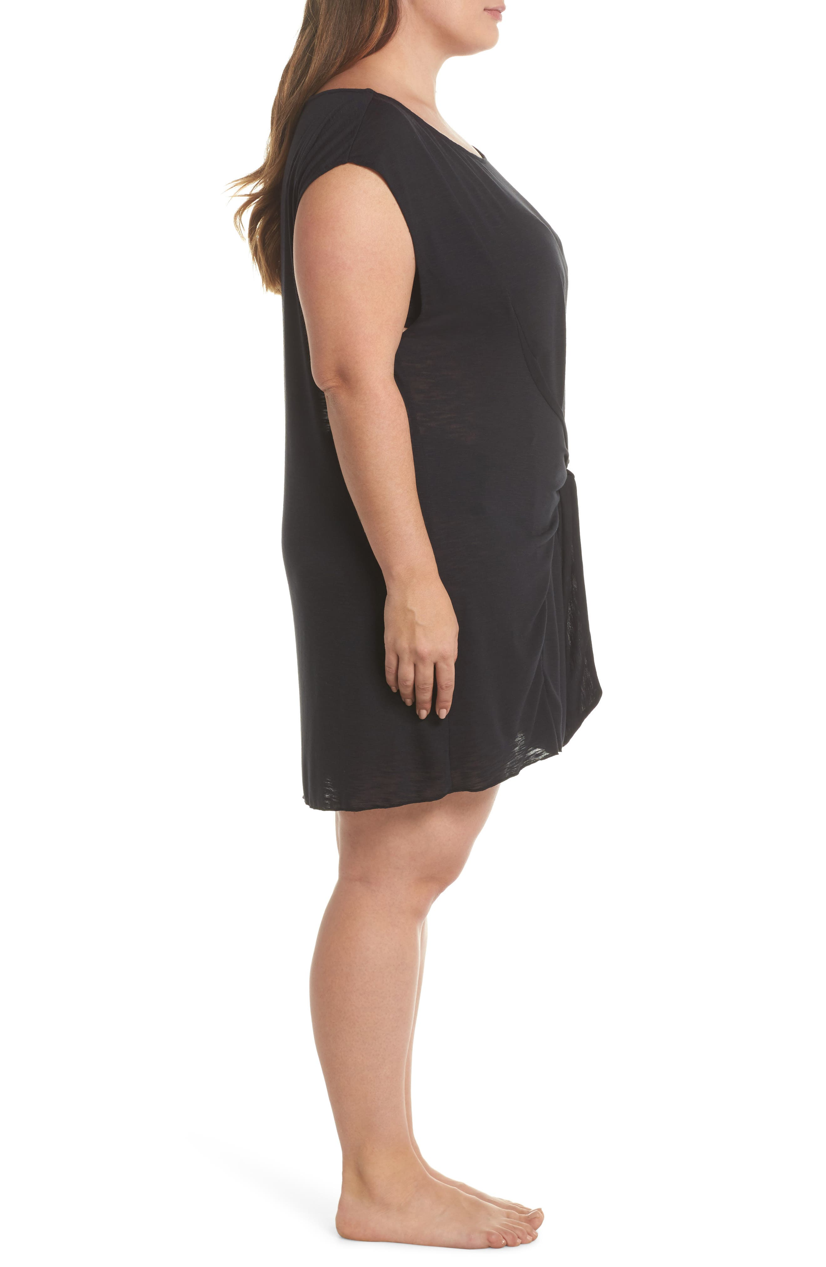 Breezy Basic Cover-Up Dress,                             Alternate thumbnail 3, color,                             BLACK
