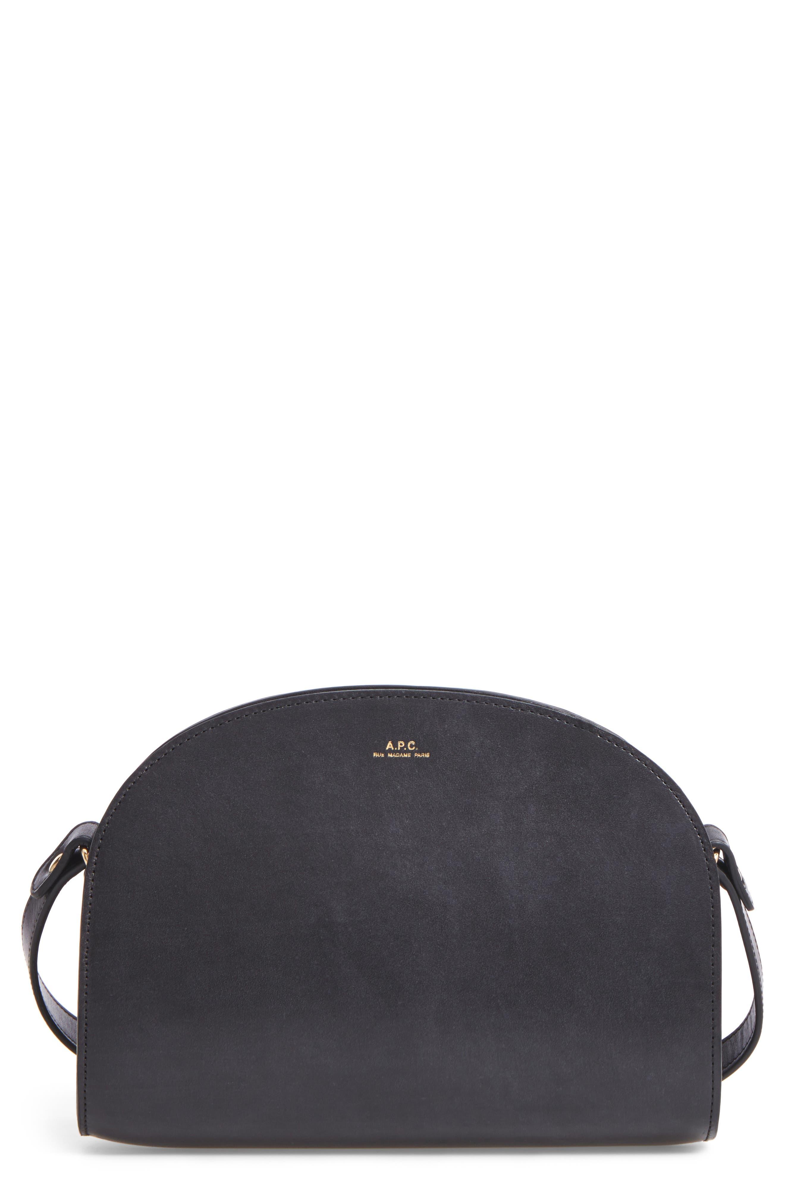 Sac Demi Lune Leather Crossbody Bag,                             Main thumbnail 1, color,                             001
