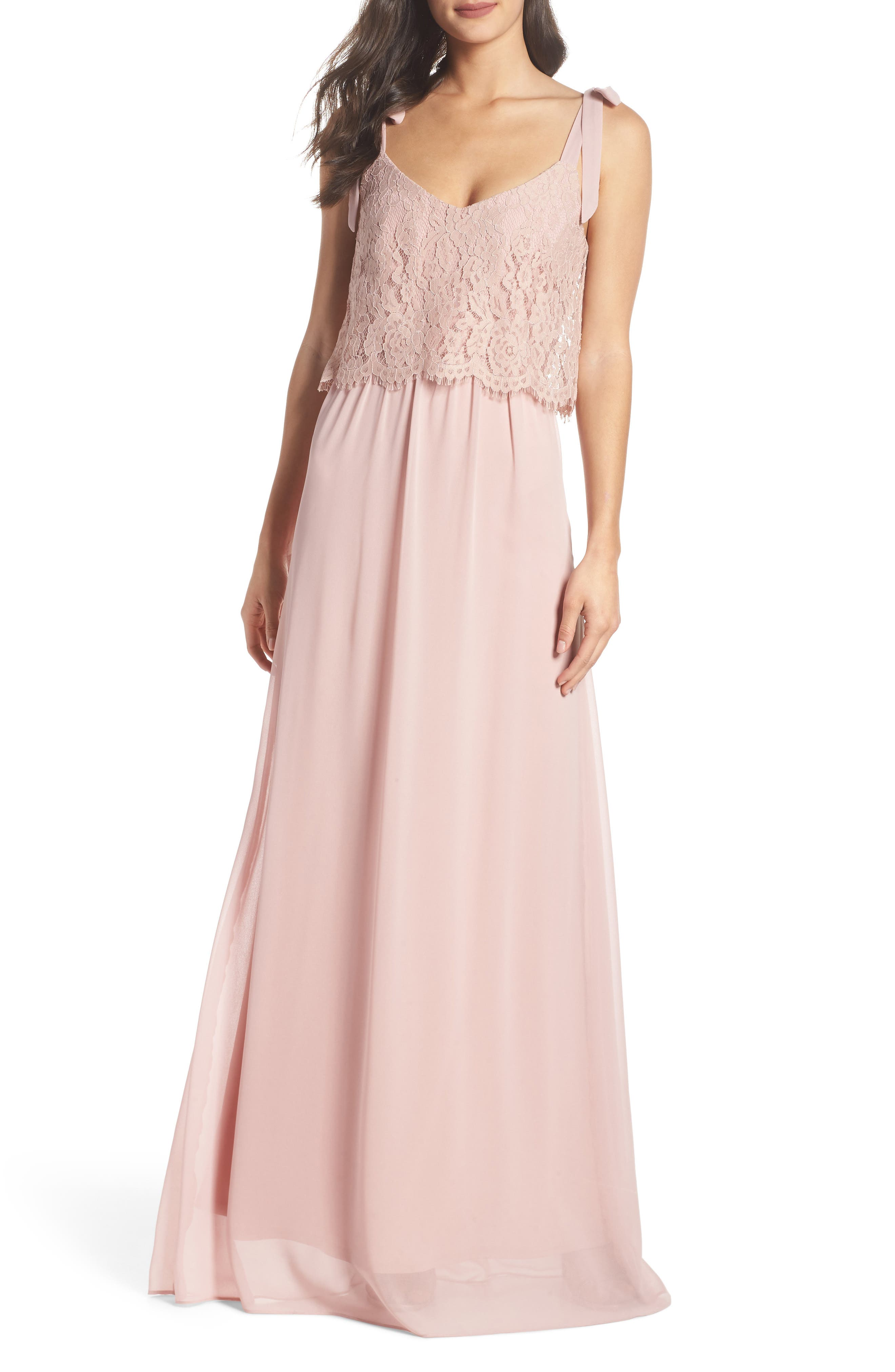 Koko Tie Shoulder Lace Bodice Gown,                             Alternate thumbnail 6, color,                             MAUVE