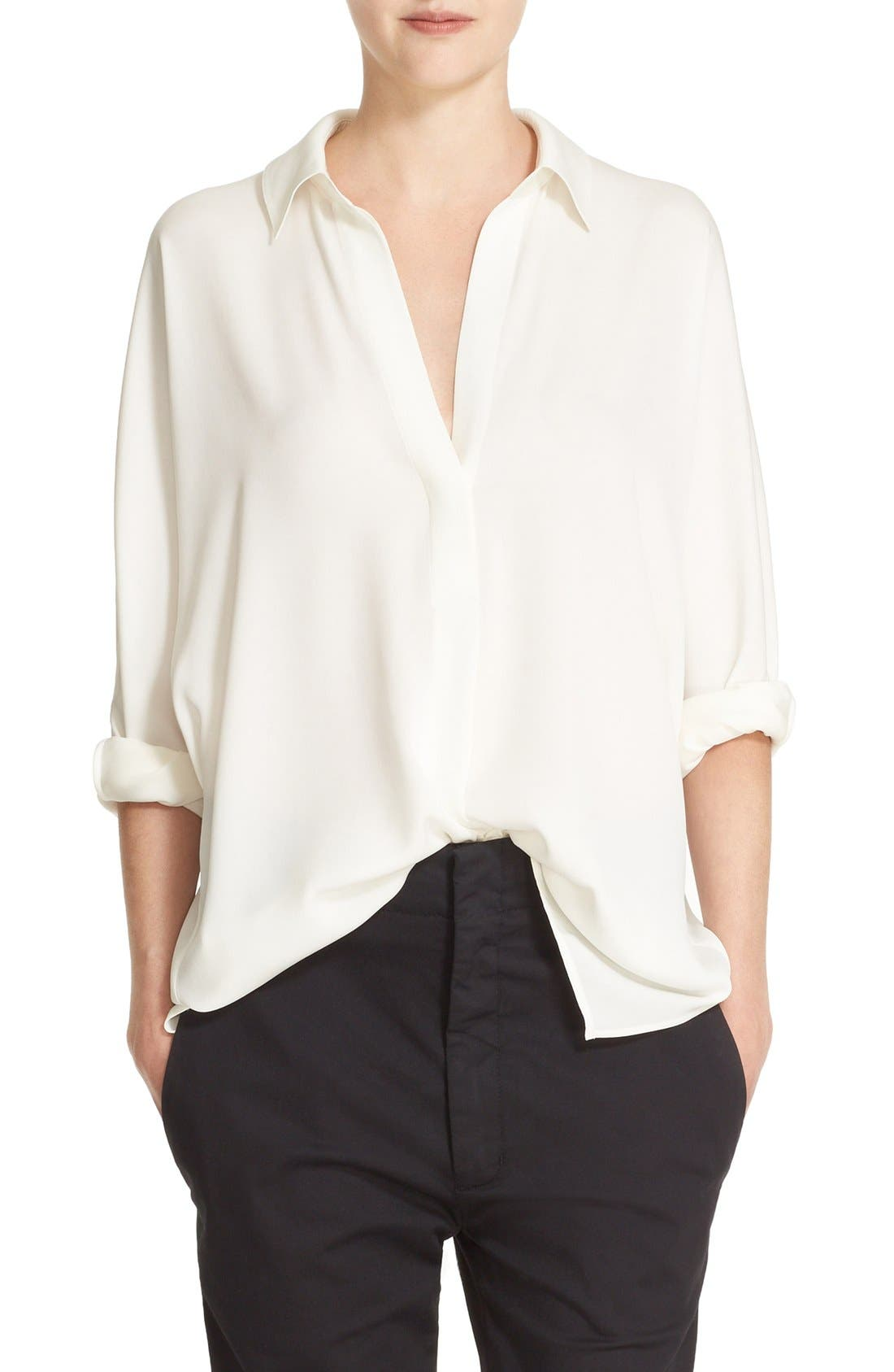 V-Neck Stretch Silk Blouse,                         Main,                         color, 101