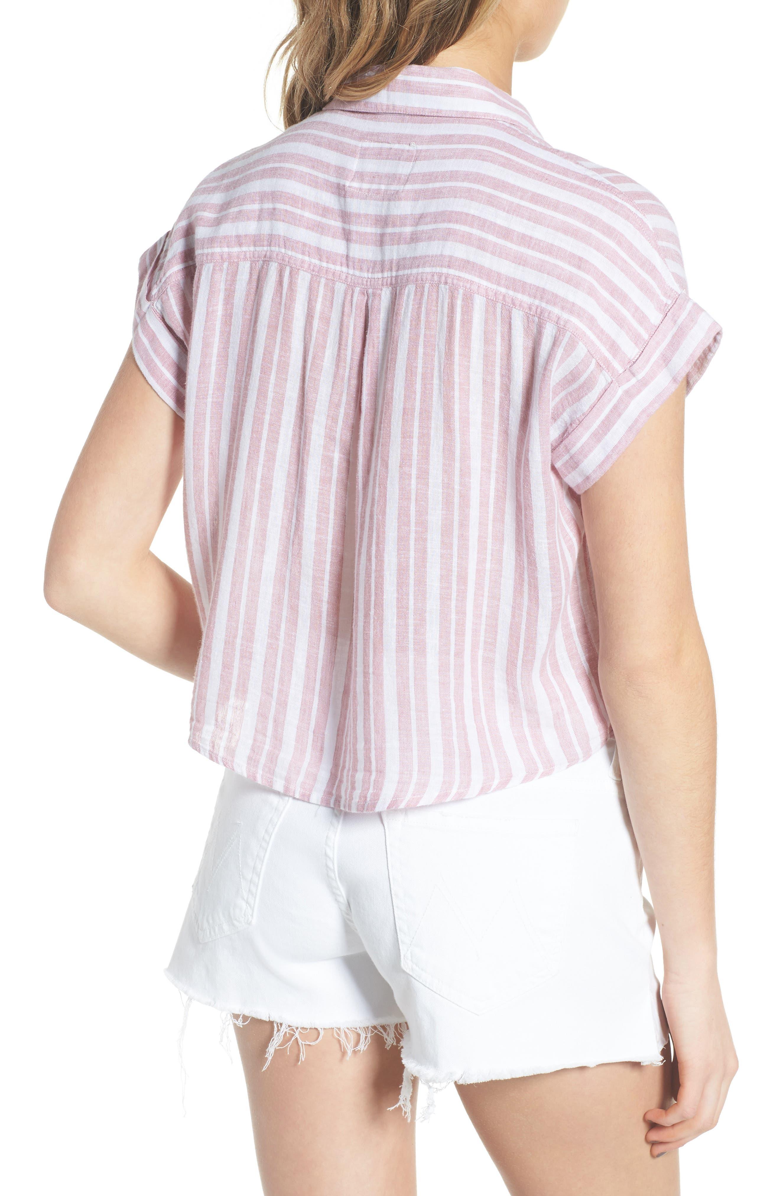 Amelie Tie Front Shirt,                             Alternate thumbnail 2, color,                             BORDEAUX STRIPE