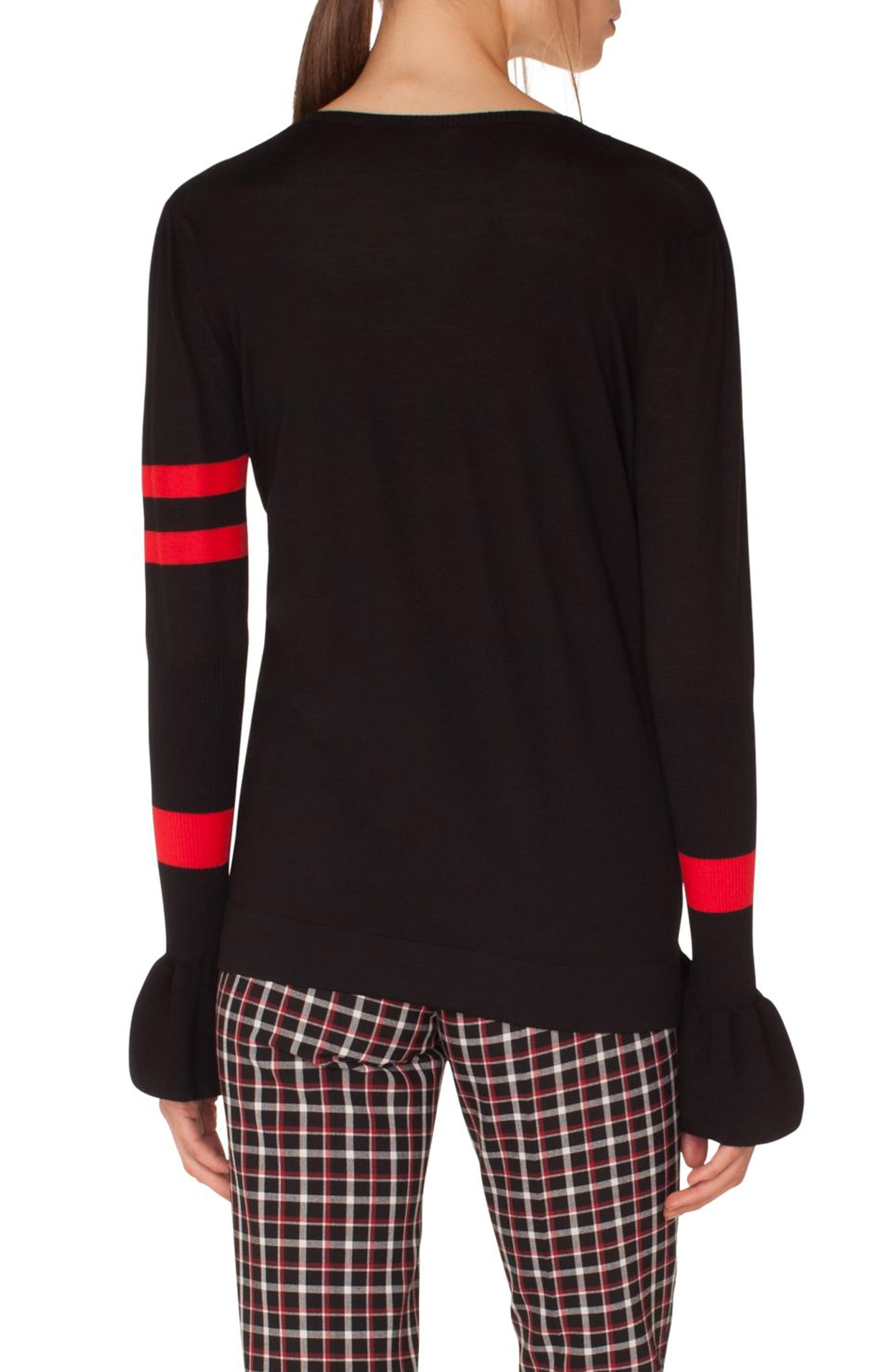 Stripe Wool Bell Sleeve Sweater,                             Alternate thumbnail 2, color,                             BLACK-LIPSTICK