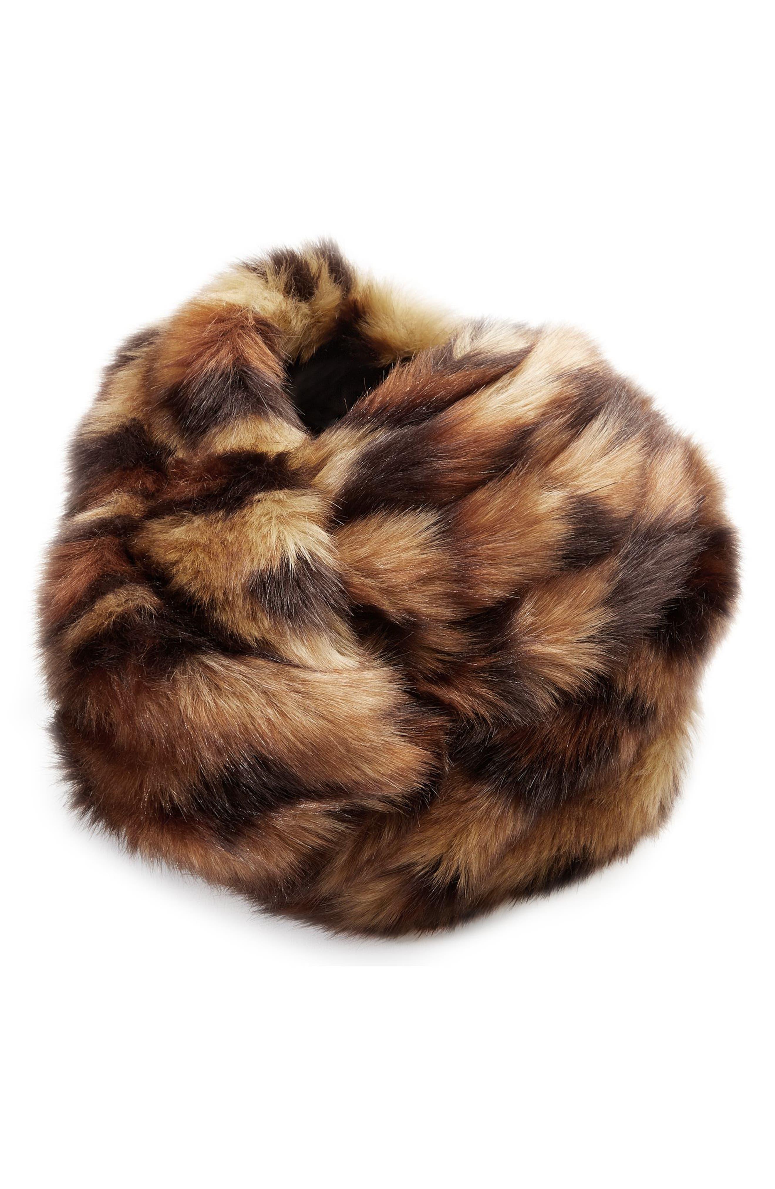 Leopard Faux Fur Turban,                             Main thumbnail 1, color,                             BEIGE/ BLACK