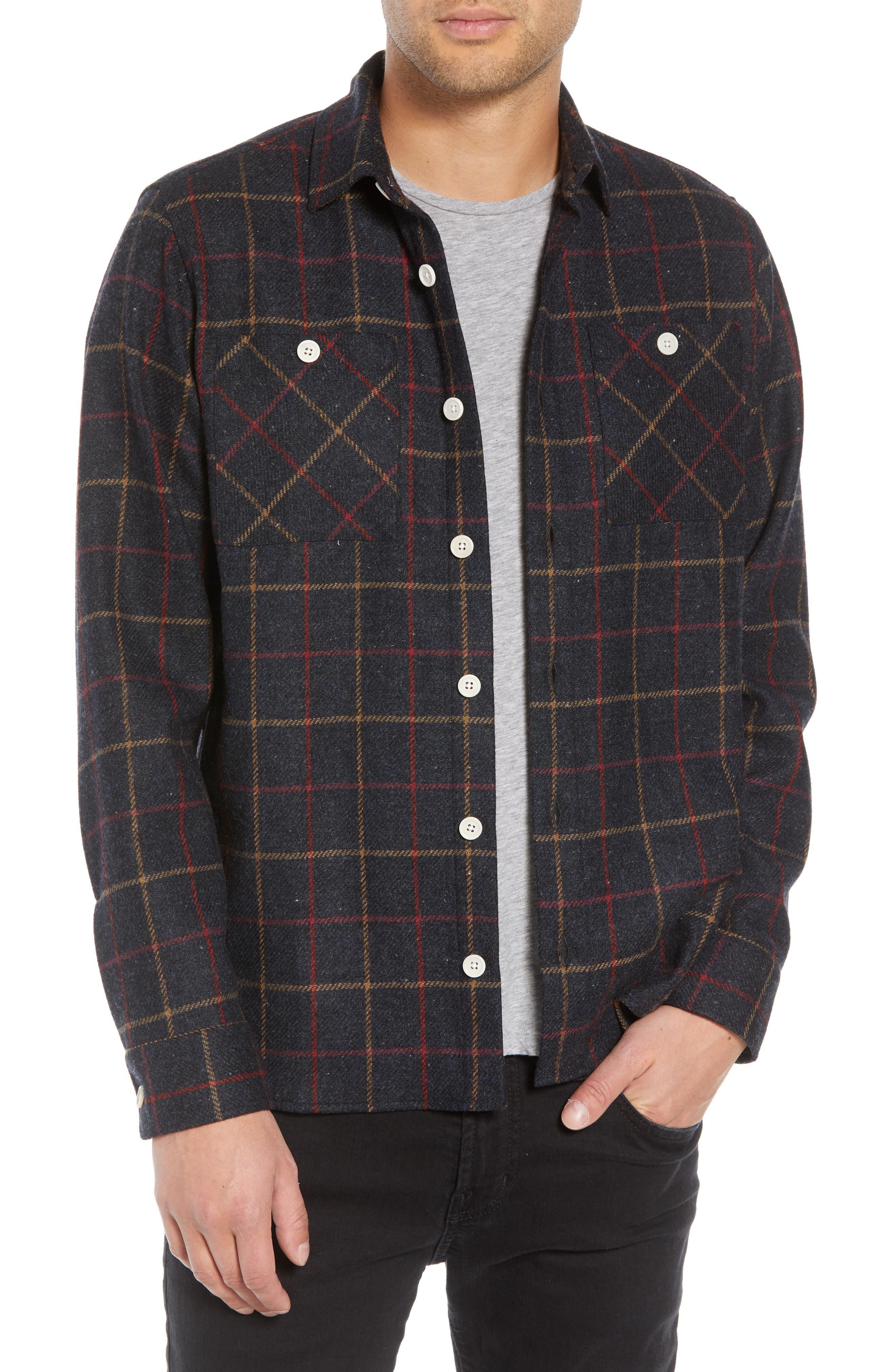 Whiting Tattersall Wool Shirt Jacket,                             Main thumbnail 1, color,                             BLACK WOOL CHECK
