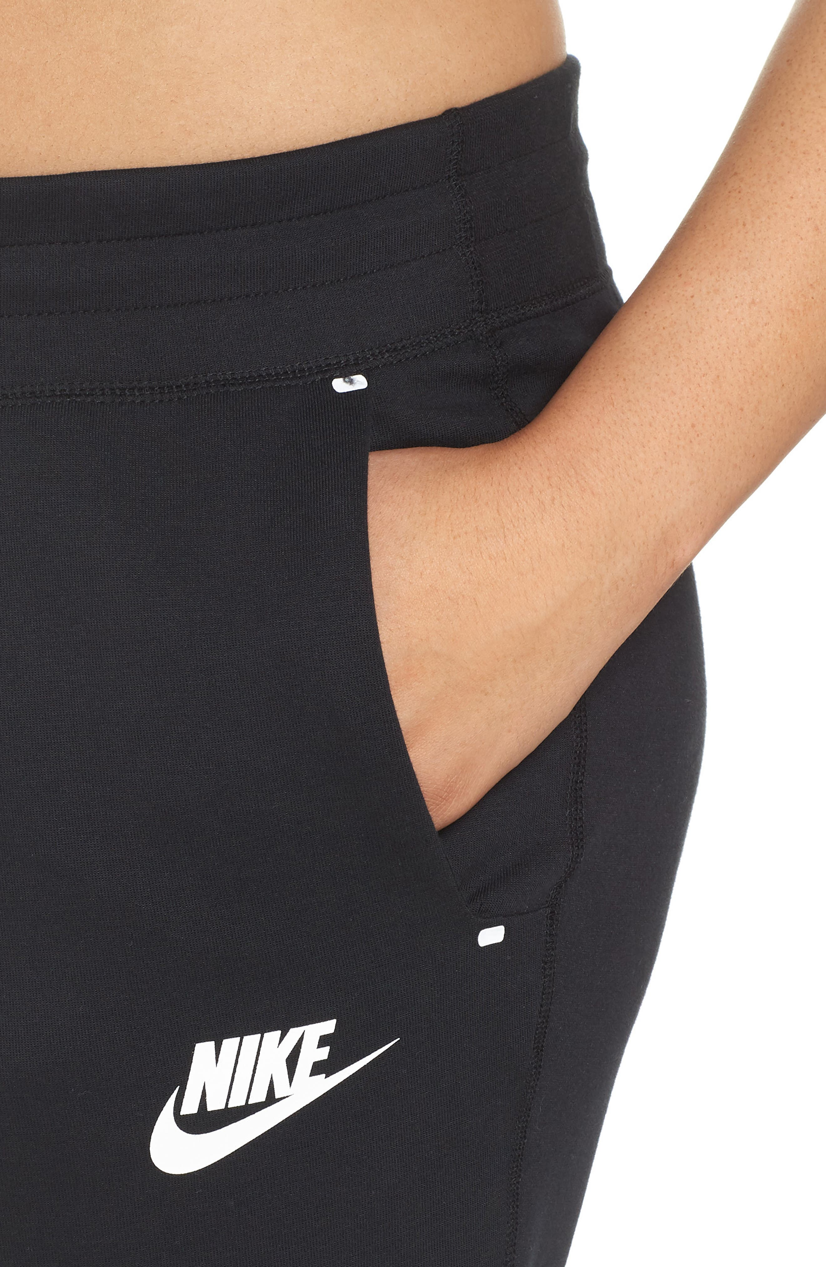 Sportswear High Rise Tech Fleece Jogger Pants,                             Alternate thumbnail 4, color,                             BLACK/ BLACK/ WHITE