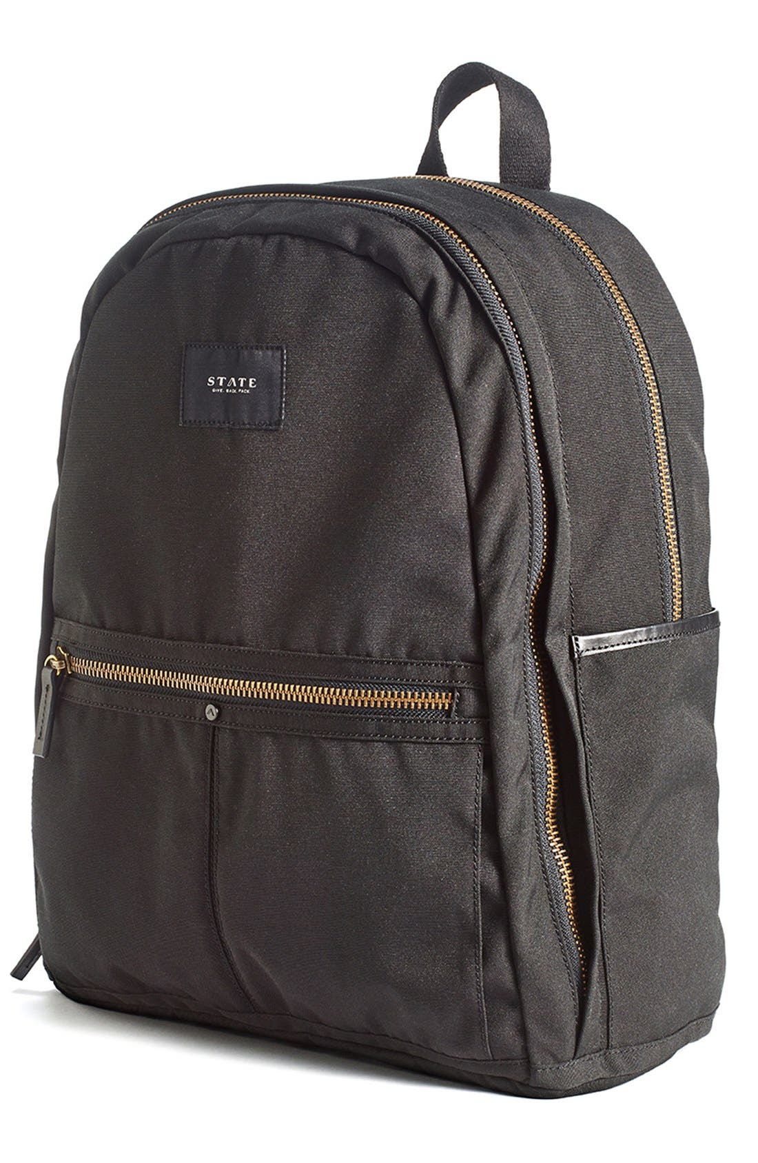 'Union' Water Resistant Backpack with Leather Trim,                             Alternate thumbnail 3, color,                             001