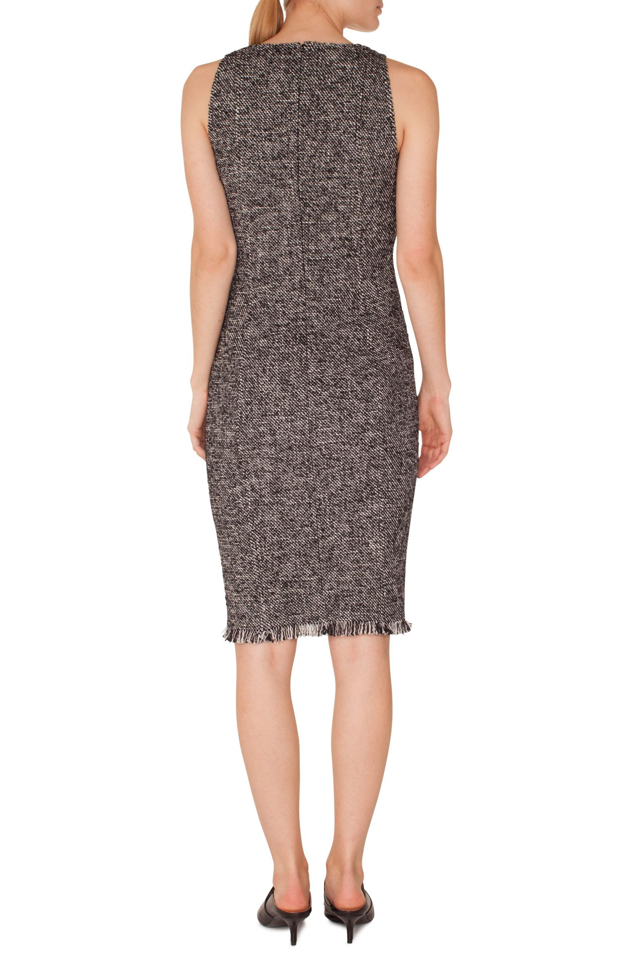 Tweed Sheath Dress,                             Alternate thumbnail 2, color,                             BLACK